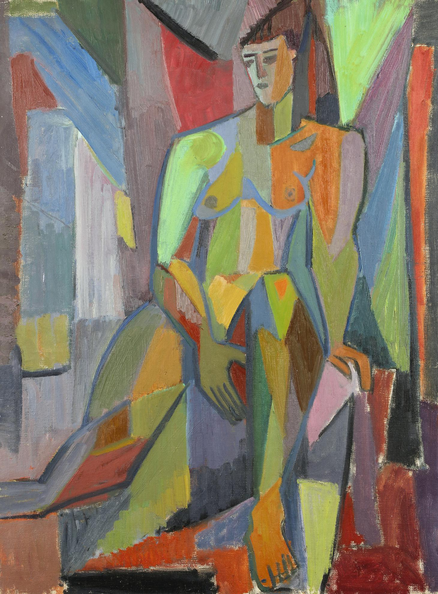 Salah Yousri - Untitled (Sitting Nude)-1950