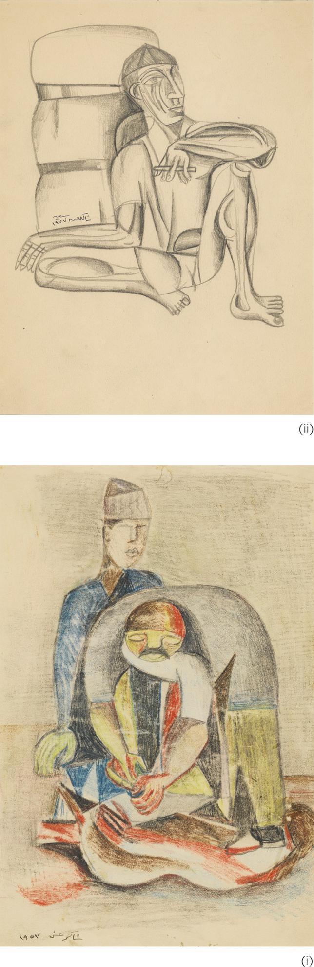Shakir Hassan Al-Said - (I) Untitled (Two Figures) (II) Untitled (Portrait of a Man)-1953