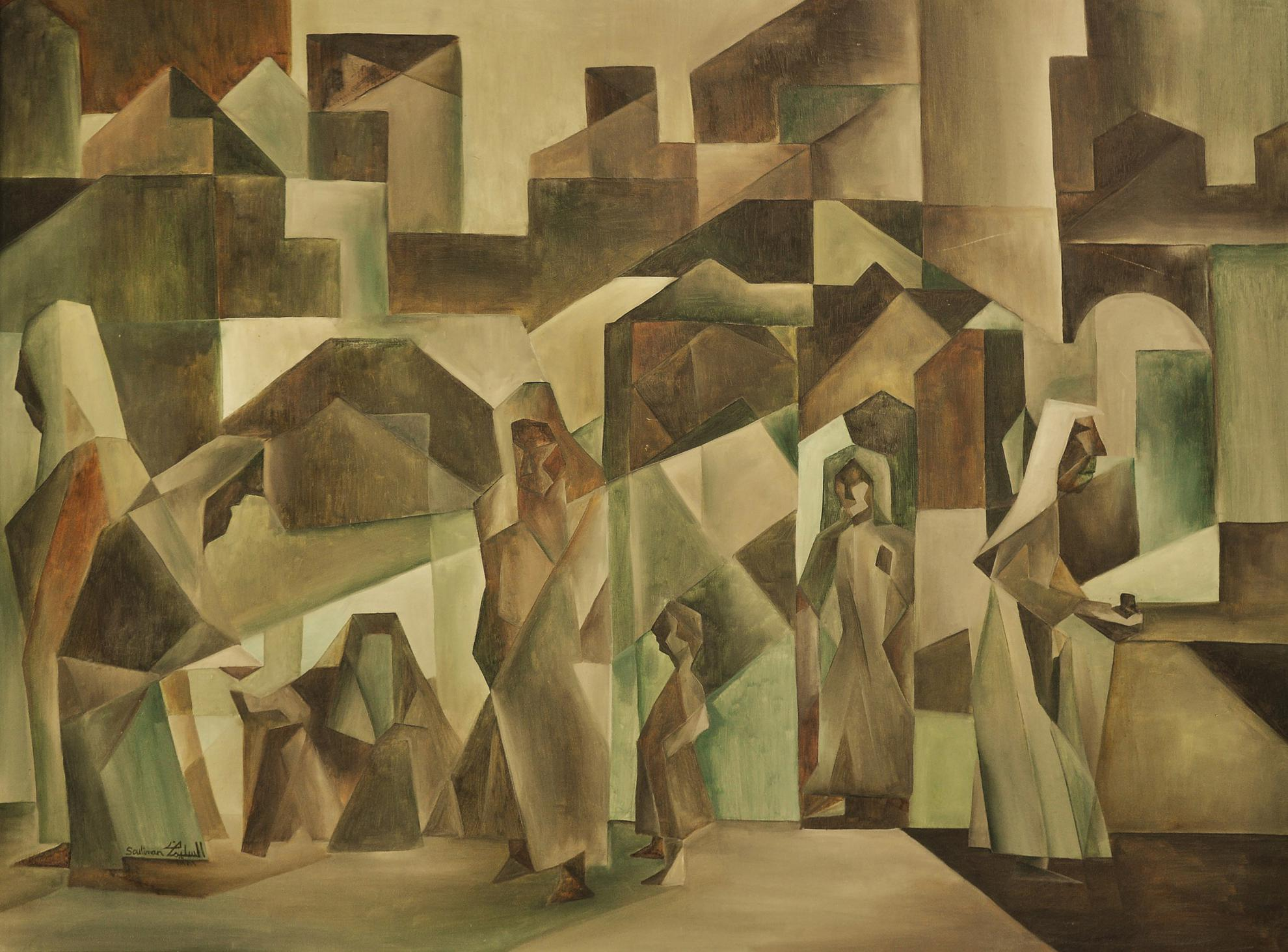 Abdulrahman Al Soliman - Worshippers Leaving the Mosqoue-1981