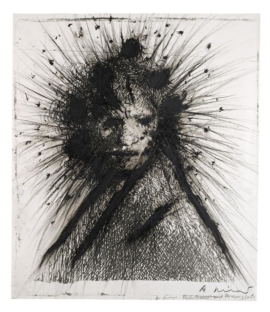 Arnulf Rainer-Der Junge Rembrandt Mit Fliegerglorie (The Young Rembrandt With A Glory Of Flies)-1980