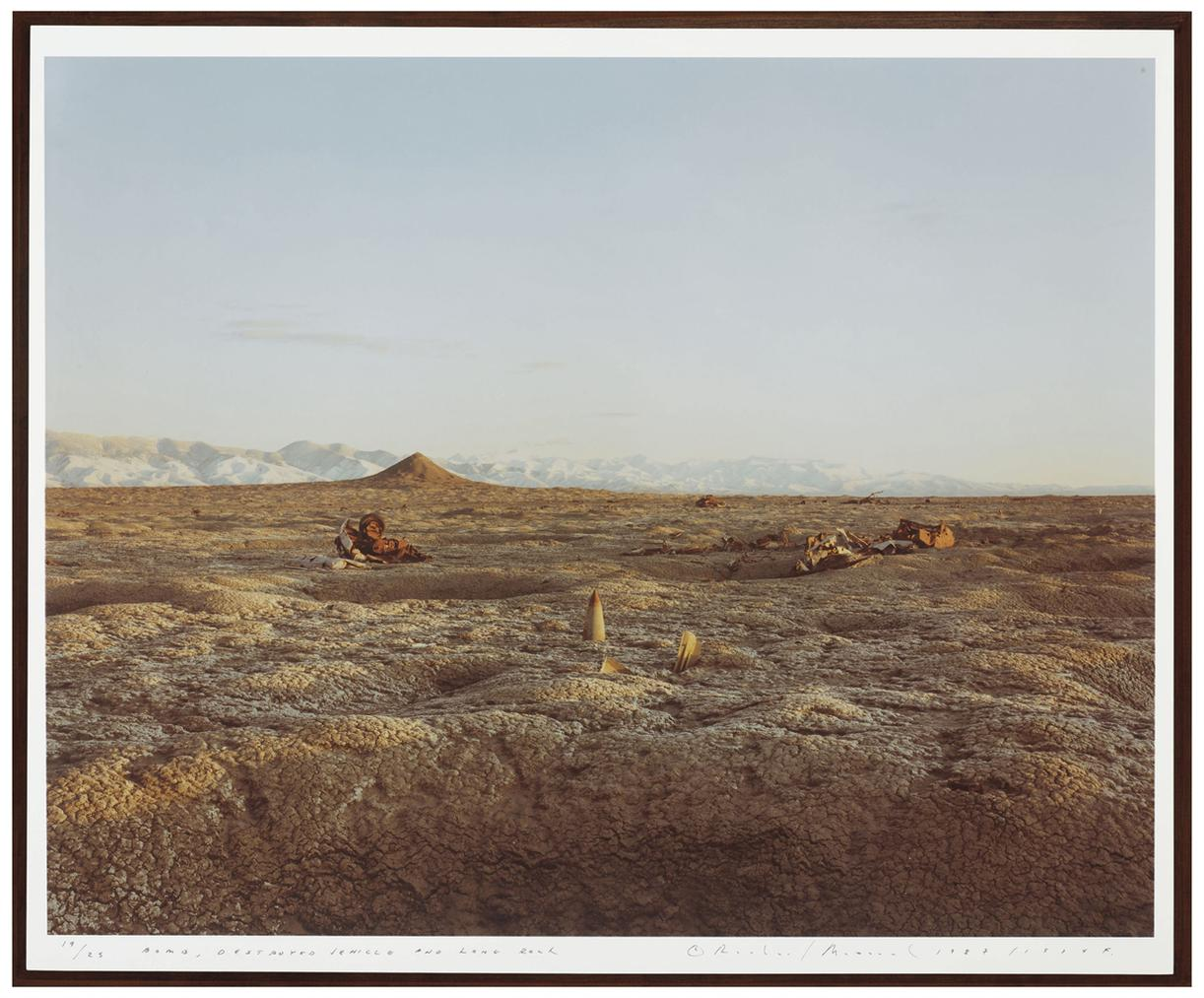 Richard Misrach-Bomb, Destroyed Vehicle And Lone Rock, Bravo 20 Bombing Range, Nevada-1987