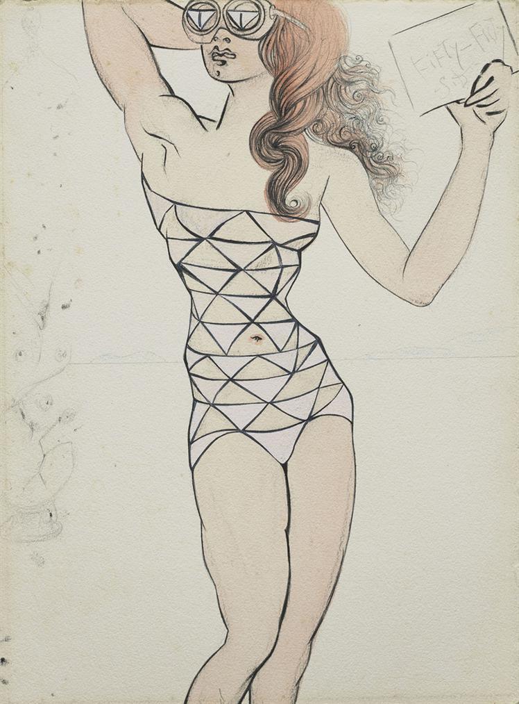 Salvador Dali-Fifty-Fifty (Projet Pour Un Maillot De Bain)-1965