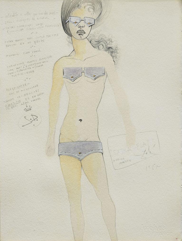 Salvador Dali-Extra Flat - A Peine Amethyste (Projet Pour Un Maillot De Bain Bikini)-1965