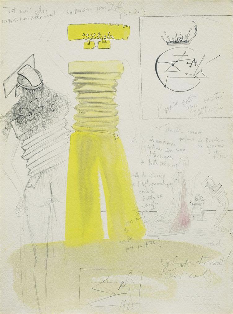 Salvador Dali-Yellow Astronaut (Clerical) (Projet Pour Une Tenue Dete Pour Le Soir)-1965