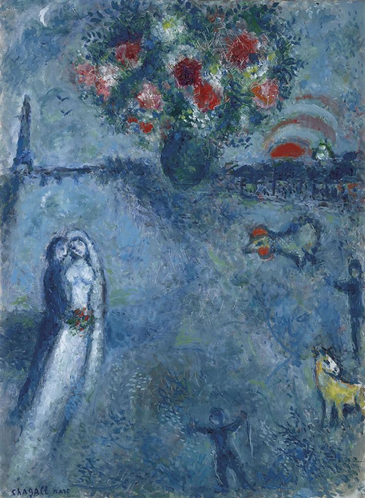 Marc Chagall-Les Maries Au Bord De La Seine-1980