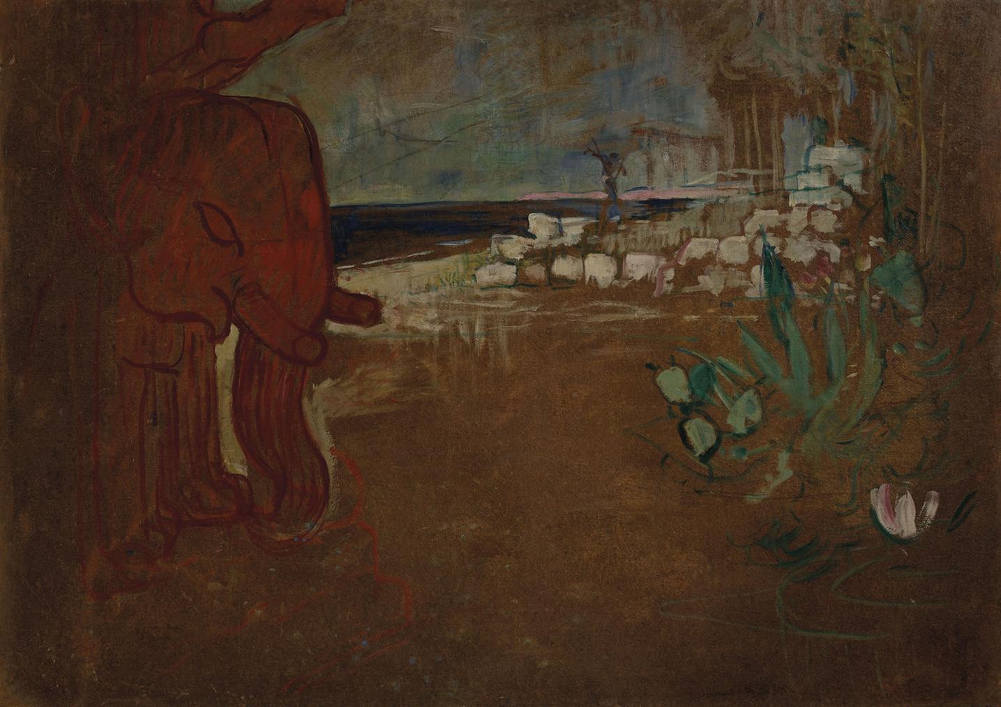 Henri de Toulouse-Lautrec-Decor Indien Pour Le Chariot De Terre Cuite, Maquette De Decor Pour Le Theatre De Loeuvre-1894