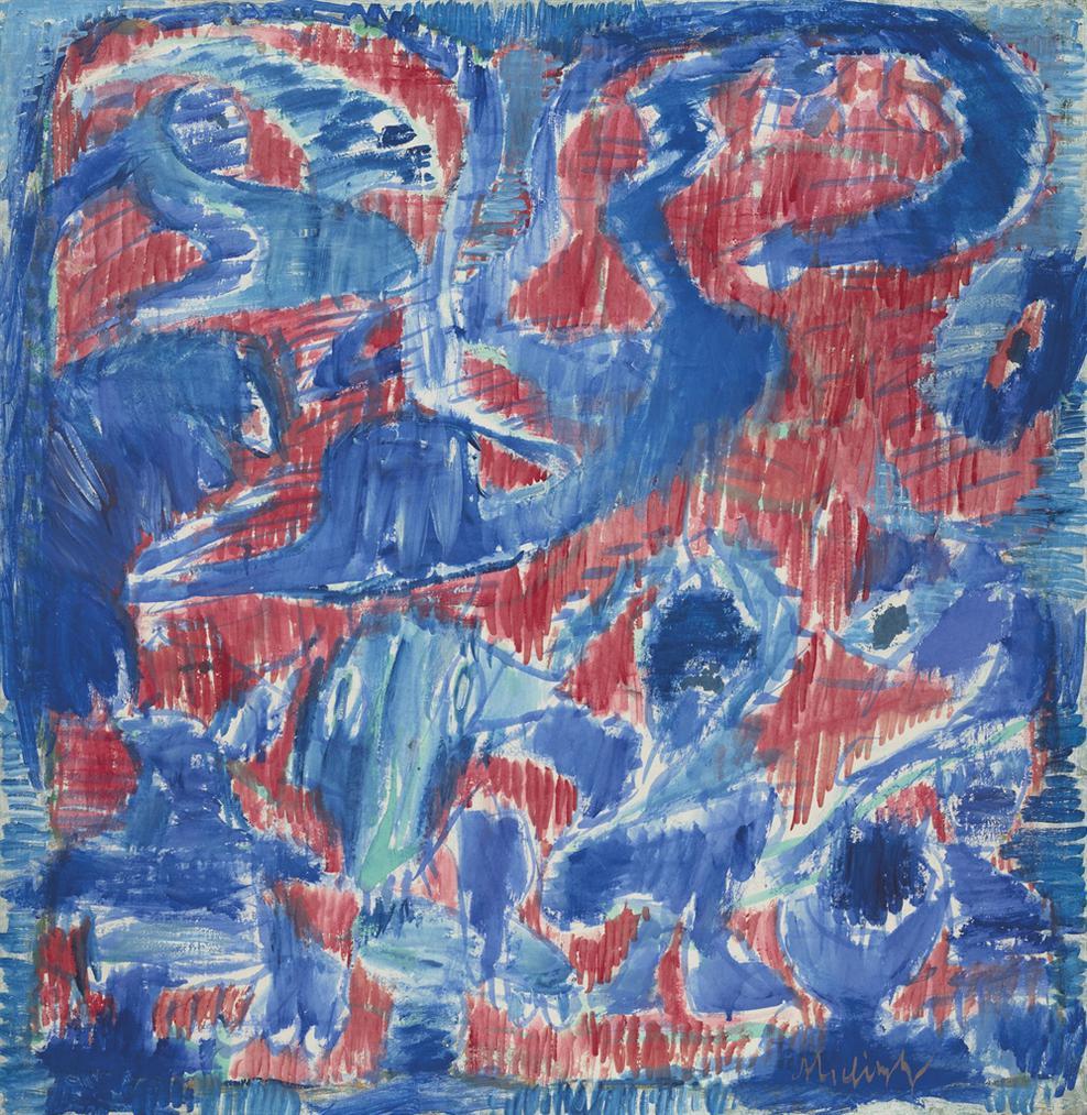 Pierre Alechinsky-Bleu Carnivore-1988