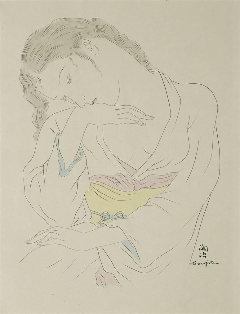 Tsuguharu Foujita-Femme Pensive (Pour La Fleur Aux Milles Petales Dor)-1930