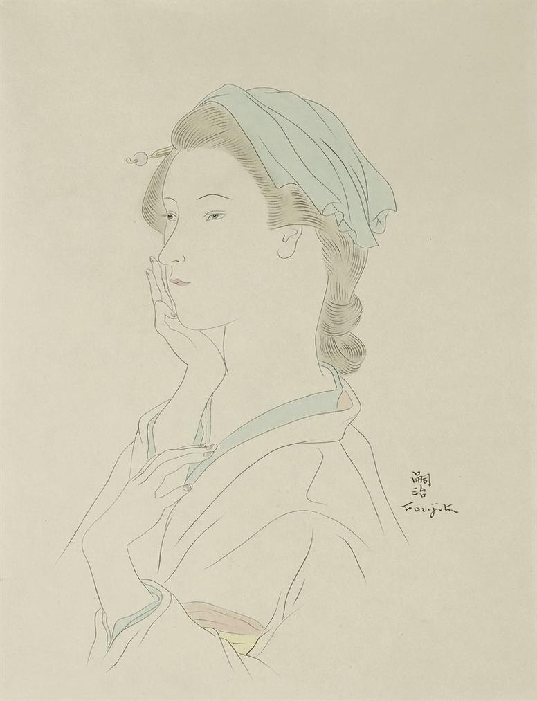 Tsuguharu Foujita-Femme A Lepingle (Pour La Fleur Aux Milles Petales Dor)-1930