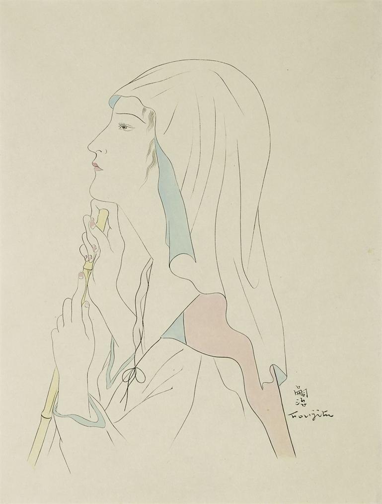 Tsuguharu Foujita-Femme Au Bambou (Pour La Fleur Aux Milles Petales Dor)-1930
