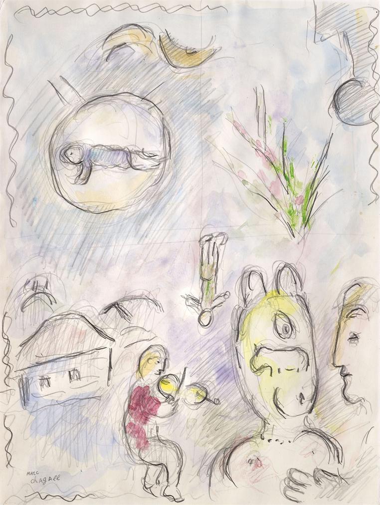 Marc Chagall-Etude Pour La Planche 25 De Louvrage Celui Qui Dit Les Choses Sans Rien Dire-1976