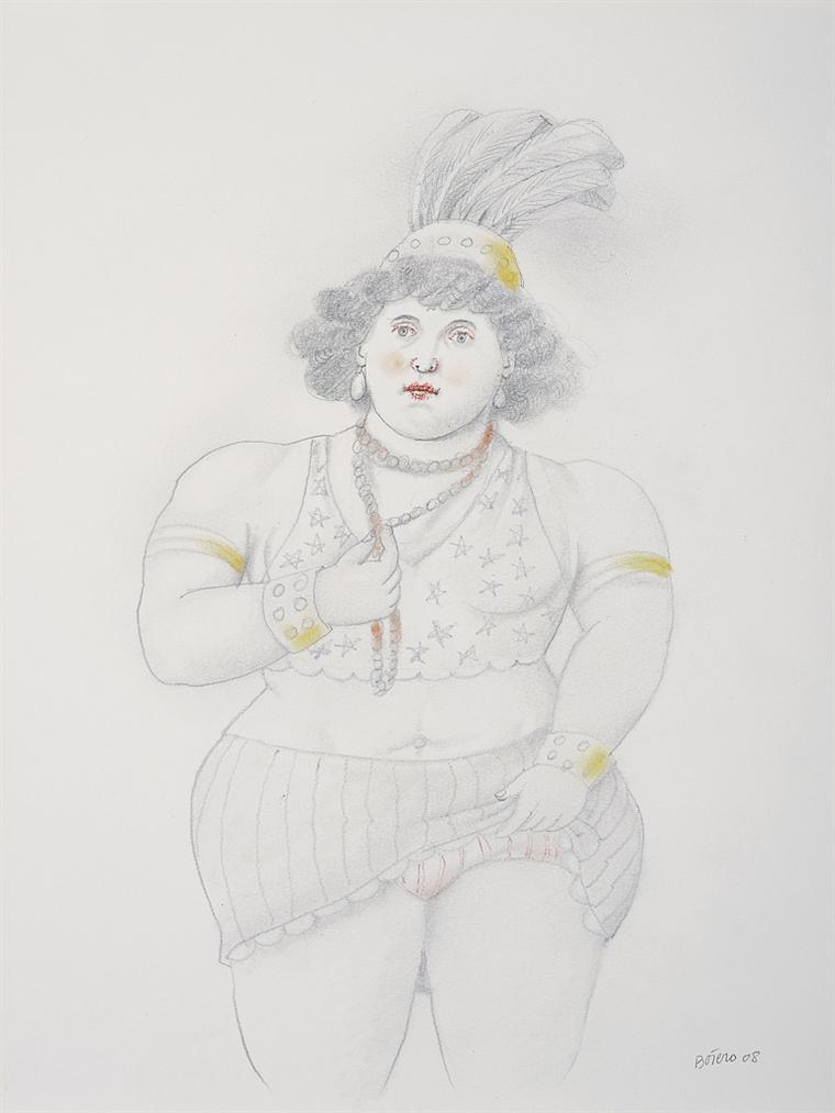 Fernando Botero-Femme Au Collier Et Aigrette-2008