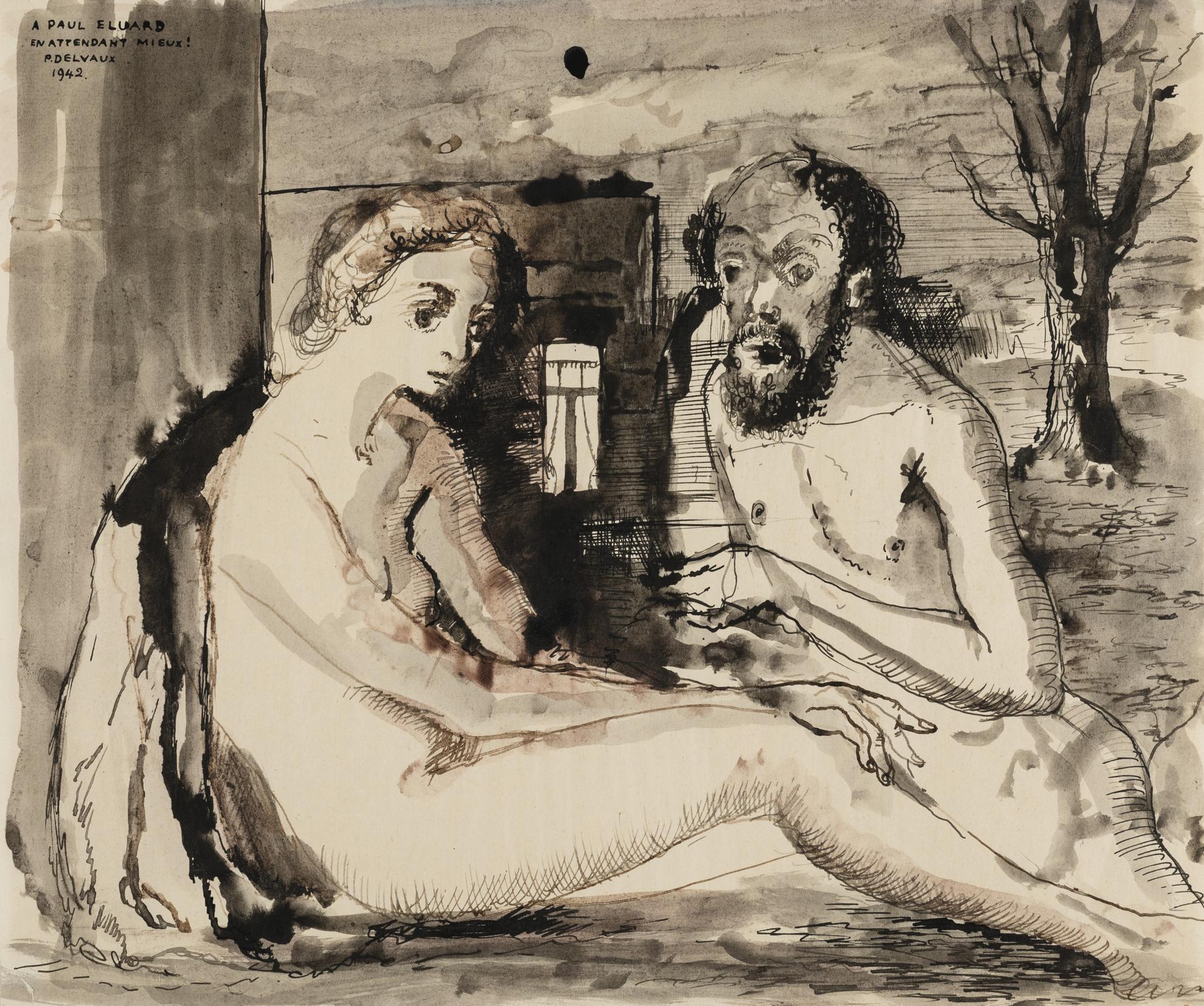 Paul Delvaux-Deux Figures-1942