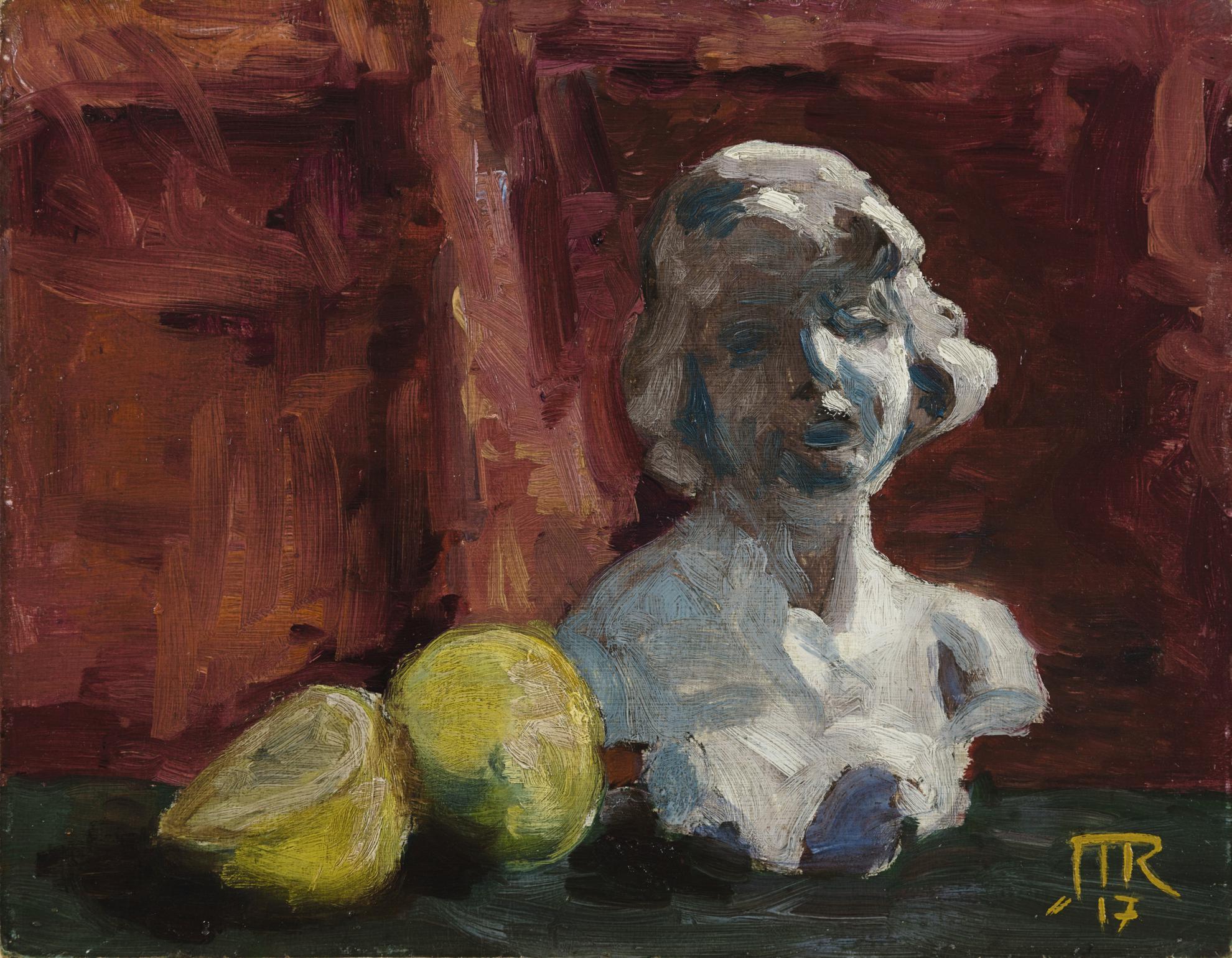 Rene Magritte-Buste En Platre Et Fruits-1917