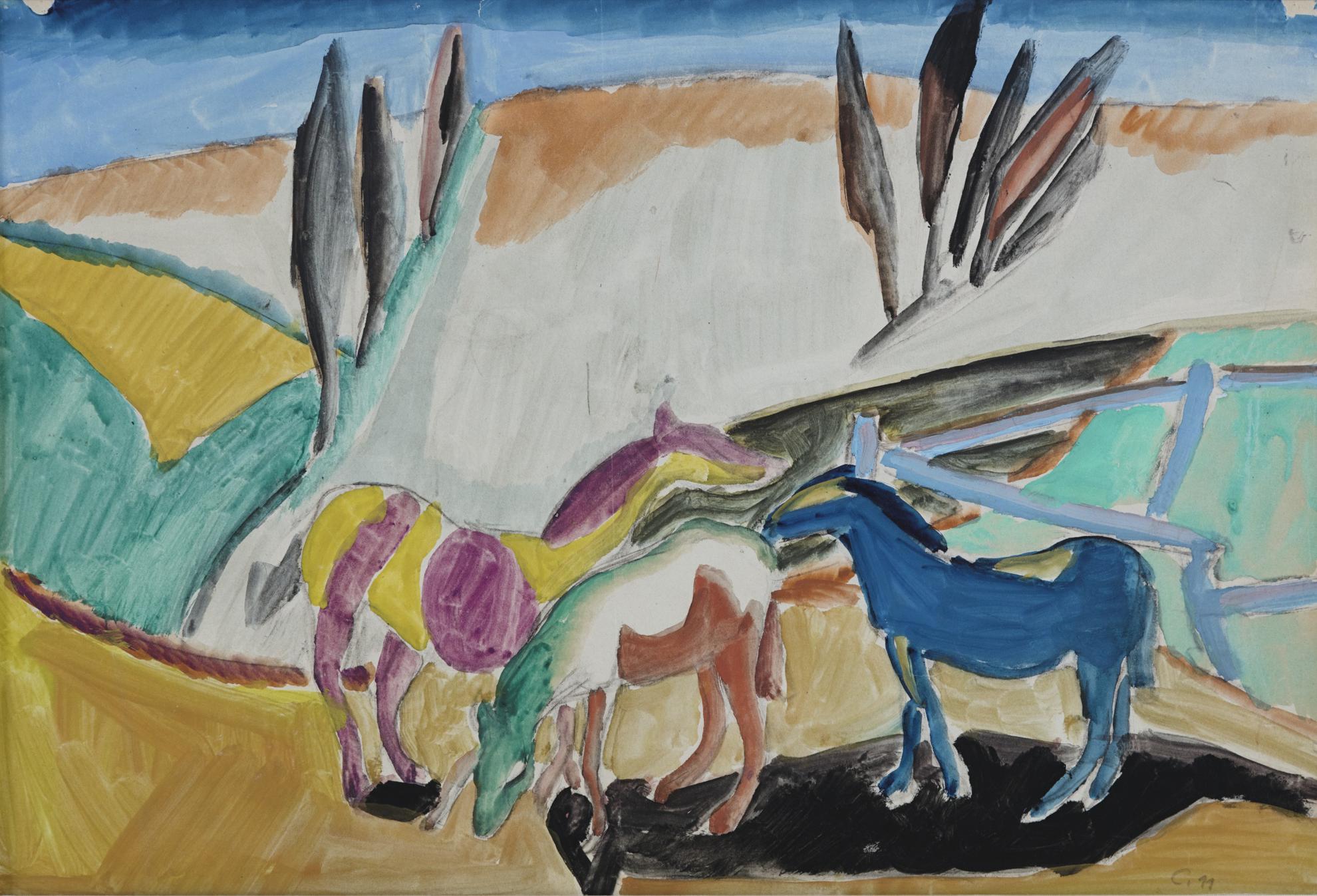 Heinrich Campendonk-Pferde Auf Der Weide (Horses In The Pasture)-1911