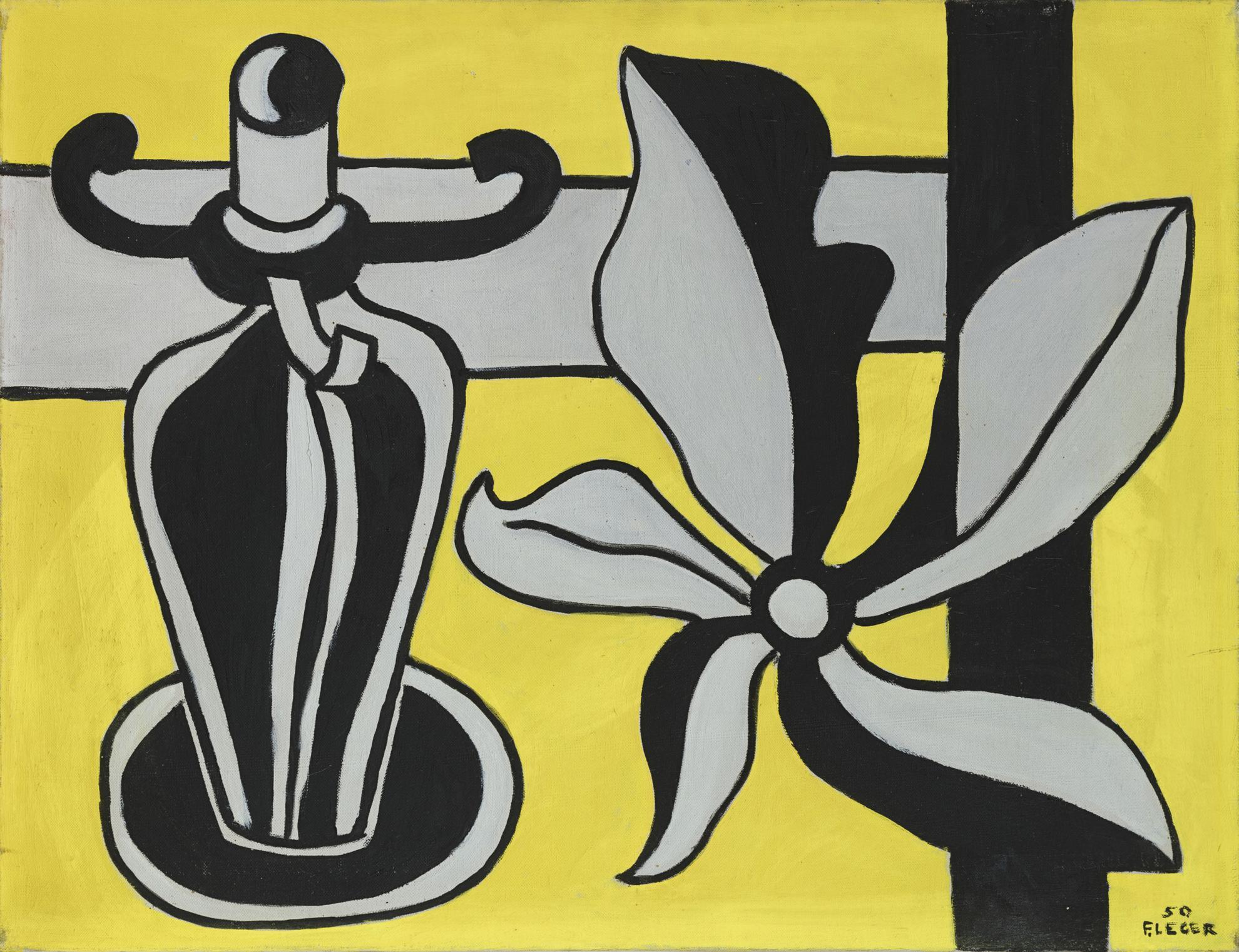 Fernand Leger-Le Chandelier Sur Fond Jaune-1950
