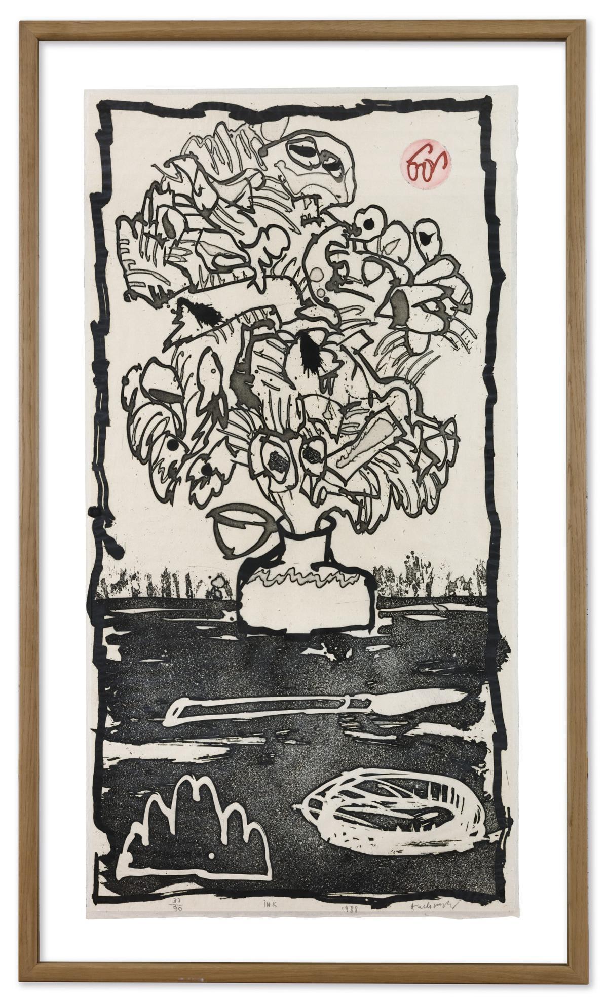 Pierre Alechinsky-Ink-1988