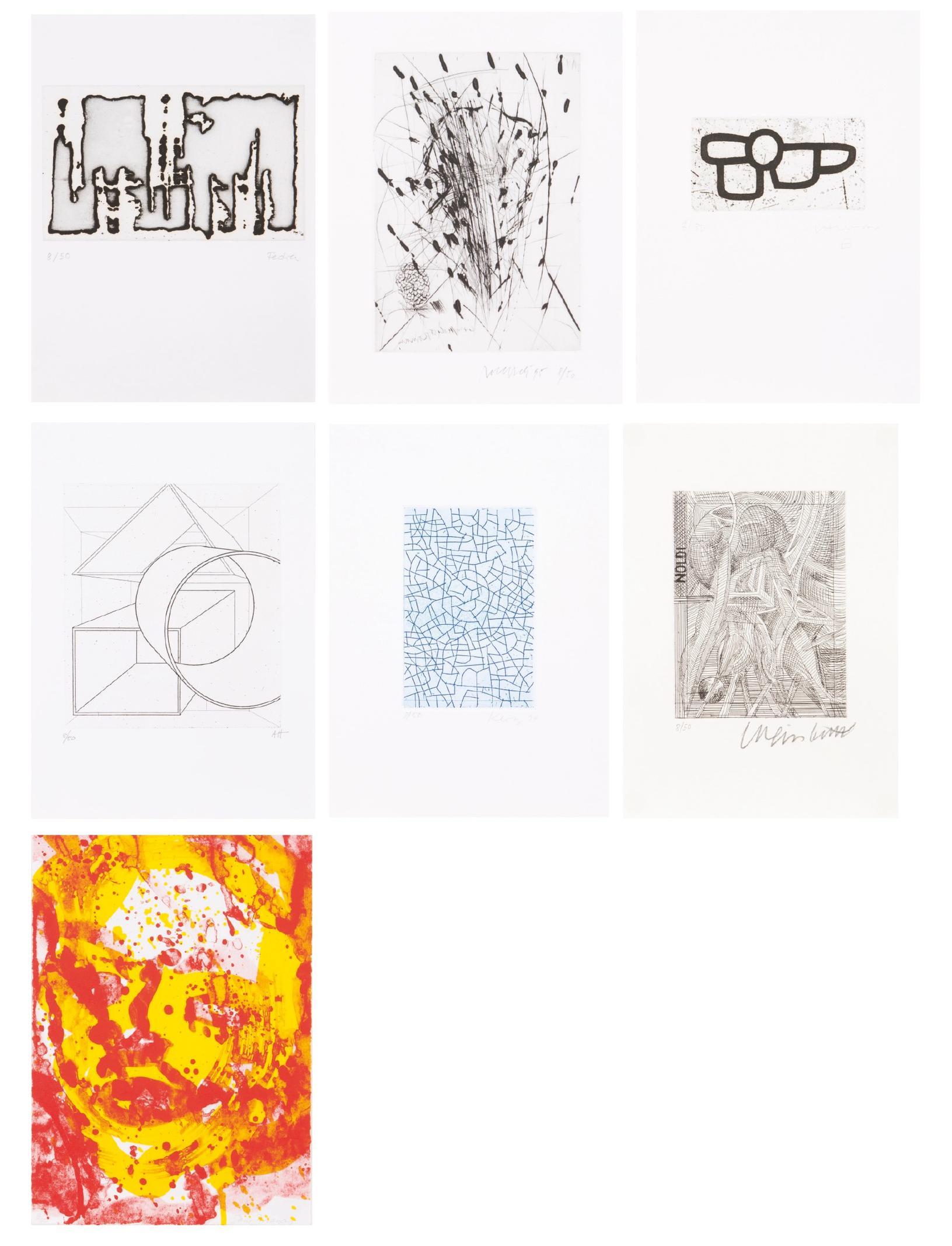Franz Fedier, Rolf Iseli, Eduardo Chillida, Al Held, Lenz Klotz, Bernhard Luginbuhl, Sam Francis - Portfolio: Set of seven graphic works-