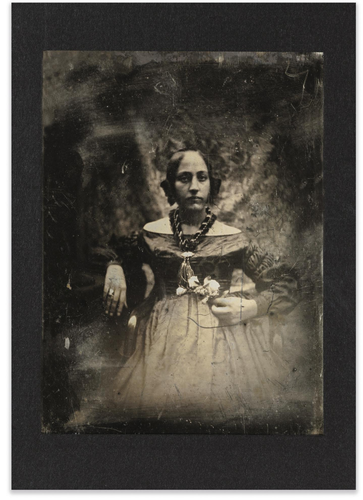 Joseph Philibert Girault De Prangey - Portrait Dune Jeune Femme, Fleur A La Main-1842