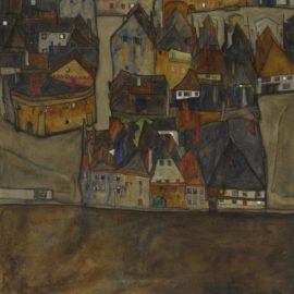 Egon Schiele-Dammernde Stadt (Die Kleine Stadt II) (City In Twilight (The Small City II))-1913