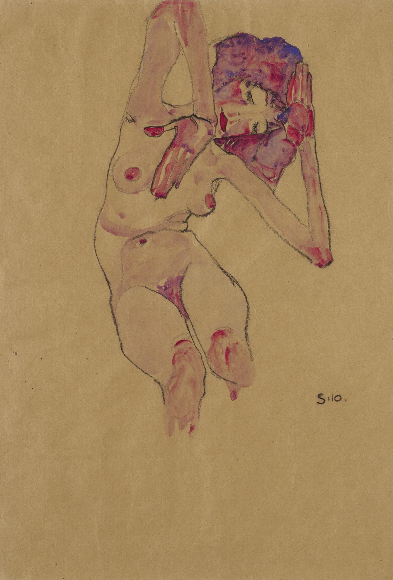 Egon Schiele-Sitzender Frauenakt Mit Geneigtem Kopf Und Erhobenen Armen (Seated Female Nude With Tilted Head And Raised Arms)-1910