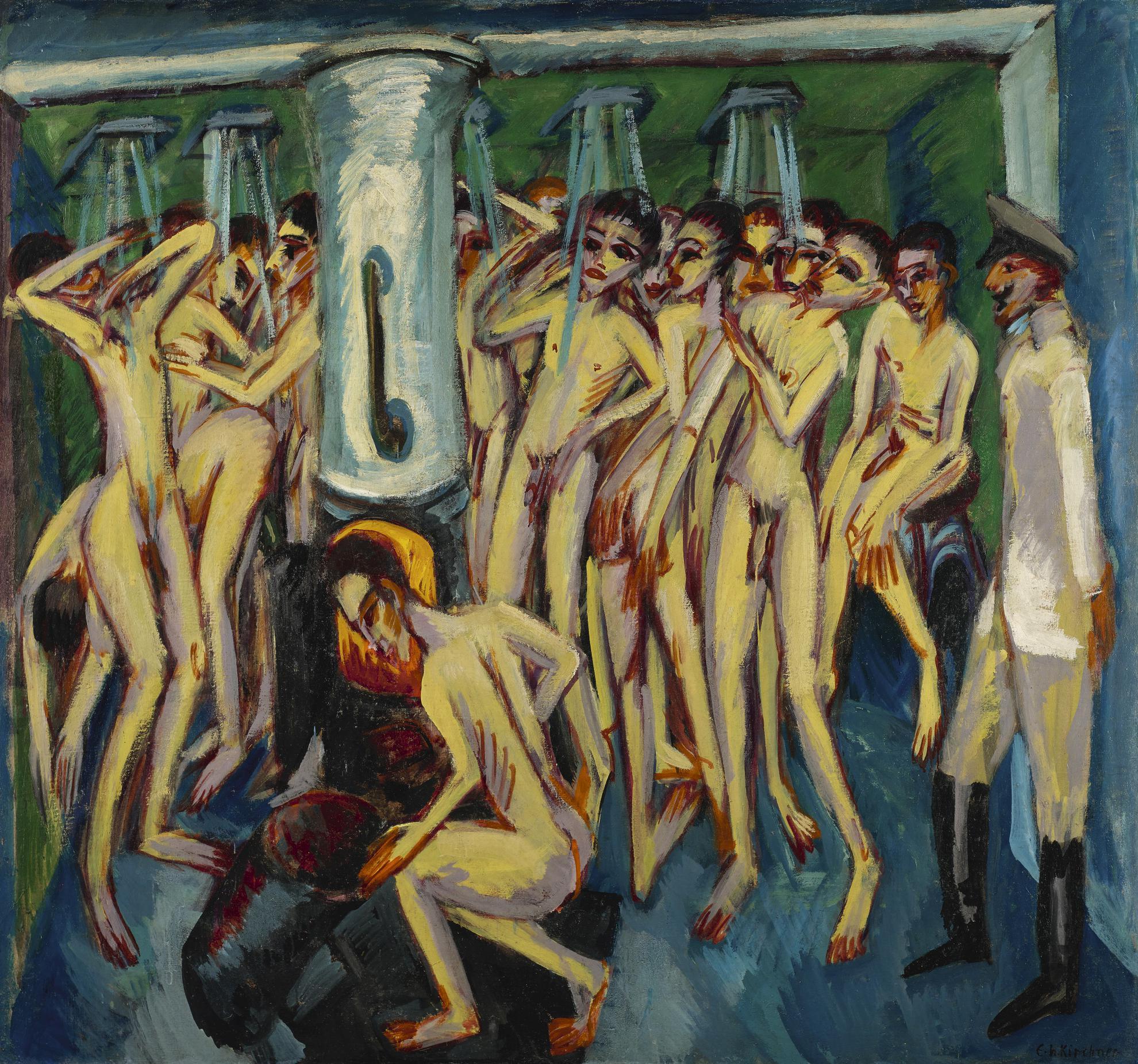 Ernst Ludwig Kirchner-Das Soldatenbad (Artillerymen)-1915