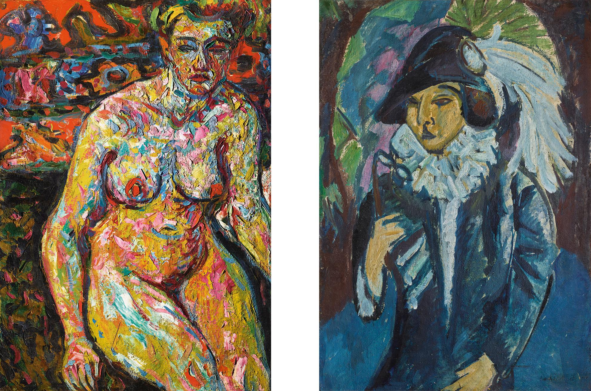 Ernst Ludwig Kirchner-Weiblicher Akt (Female Nude) & Blaue Dame Im Tiergarten (Lady In Blue In The Park): A Double-Sided Painting-1912