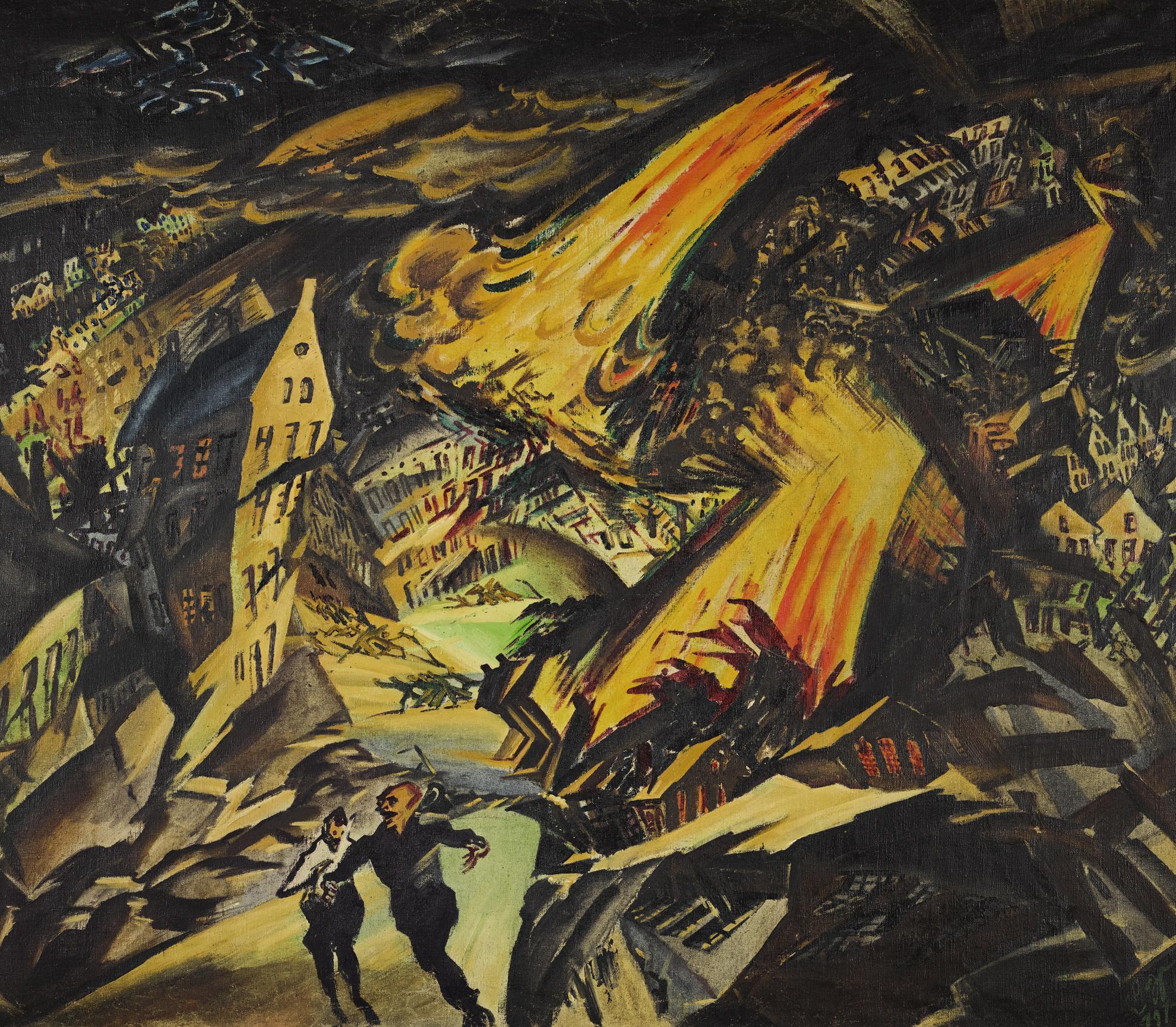 Ludwig Meidner - Apokalyptische Landschaft (Apocalyptic Landscape) Junger Mann Mit Strohhut (Young Man With Straw Hat) - Reverse-1912