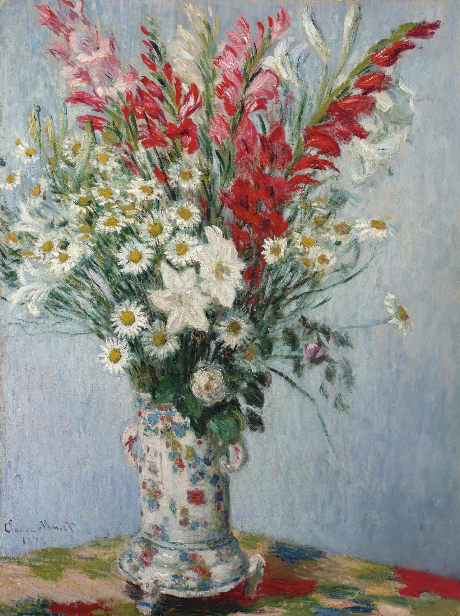 Claude Monet-Bouquet De Glaieuls, Lis Et Marguerites-1878