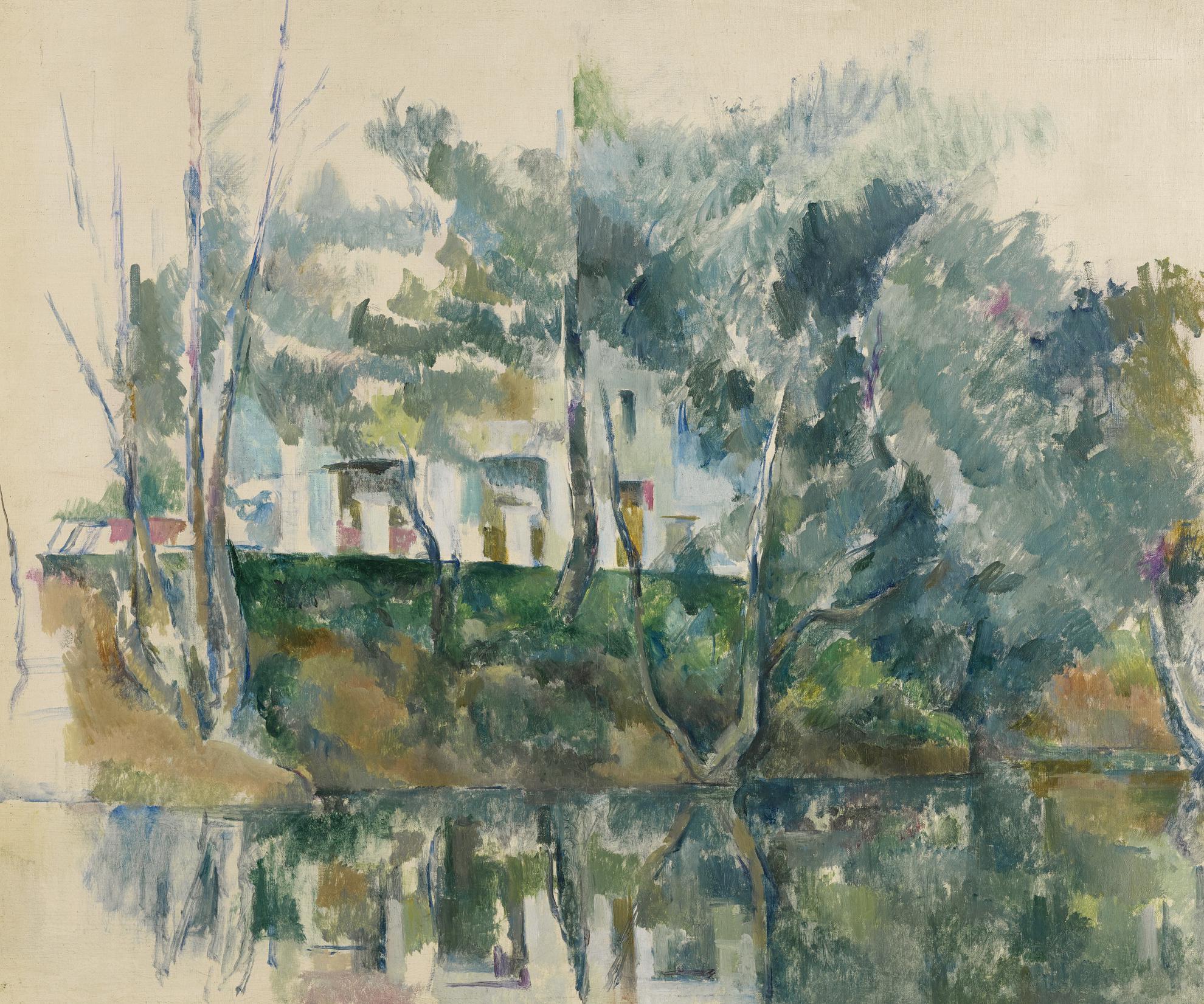 Paul Cezanne-Arbres Et Maisons Au Bord De Leau-1893