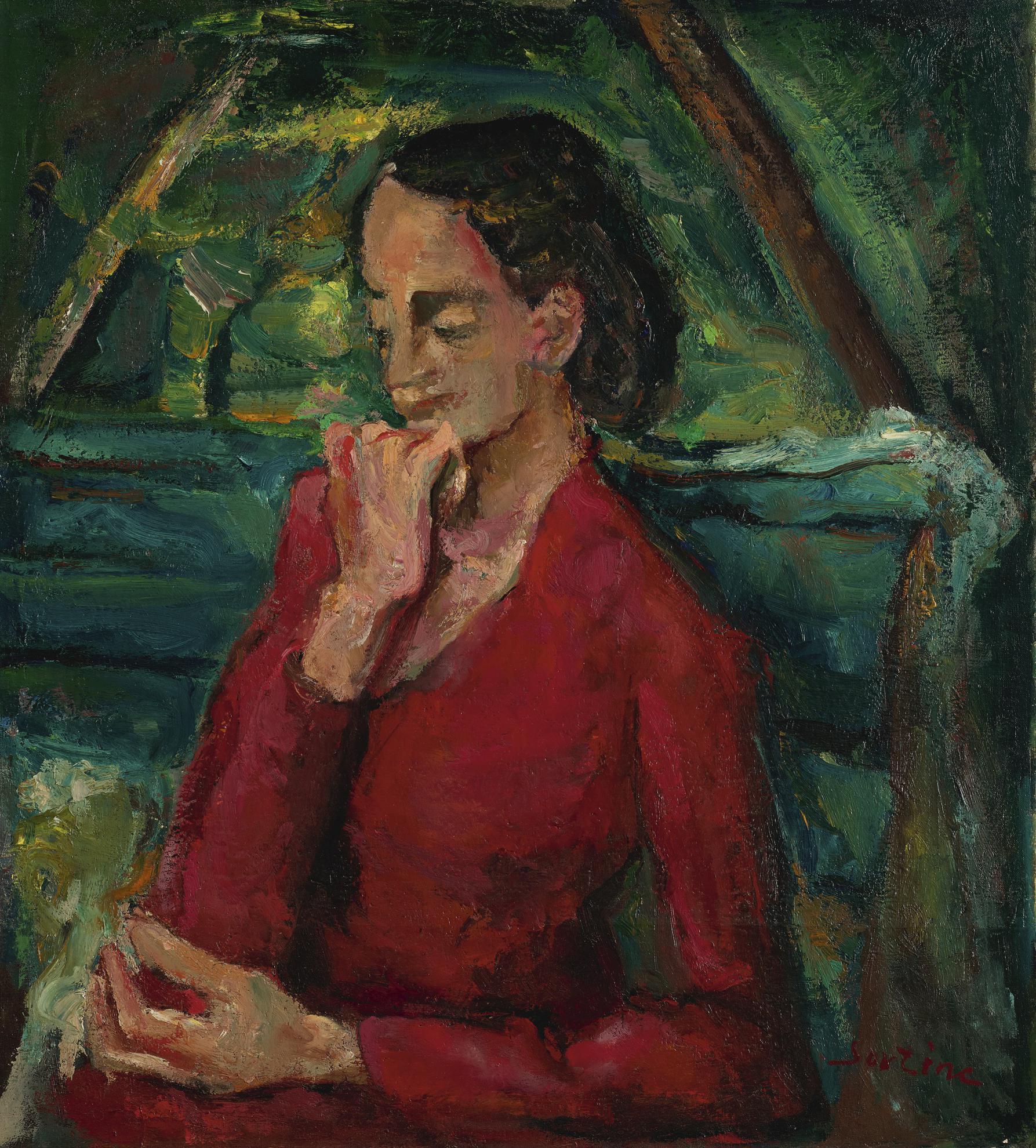 Chaim Soutine-Femme En Rouge Assise Sur Un Banc-1942