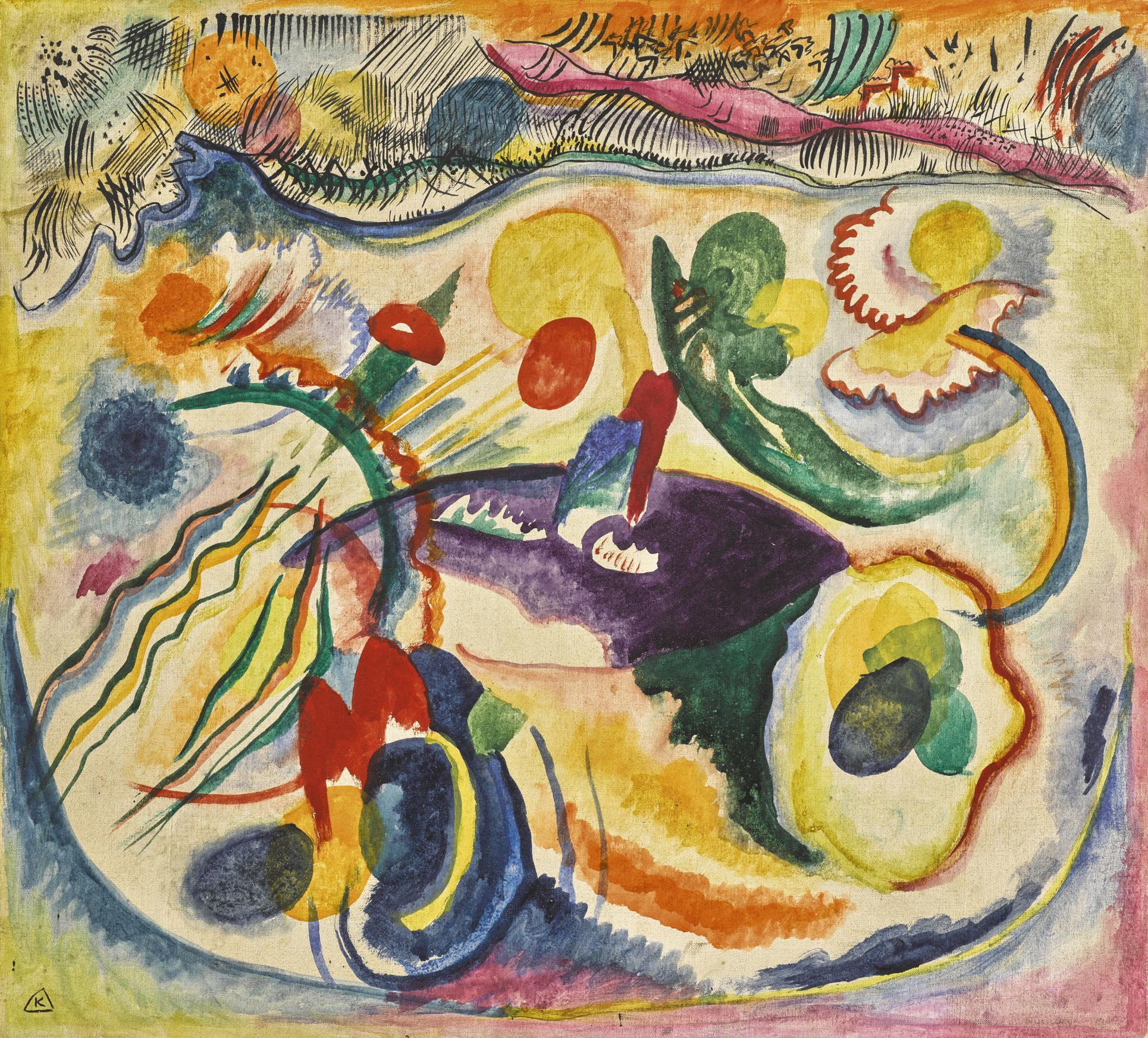 Wassily Kandinsky-Zum Thema Jungstes Gericht (On The Theme Of The Last Judgement)-1913
