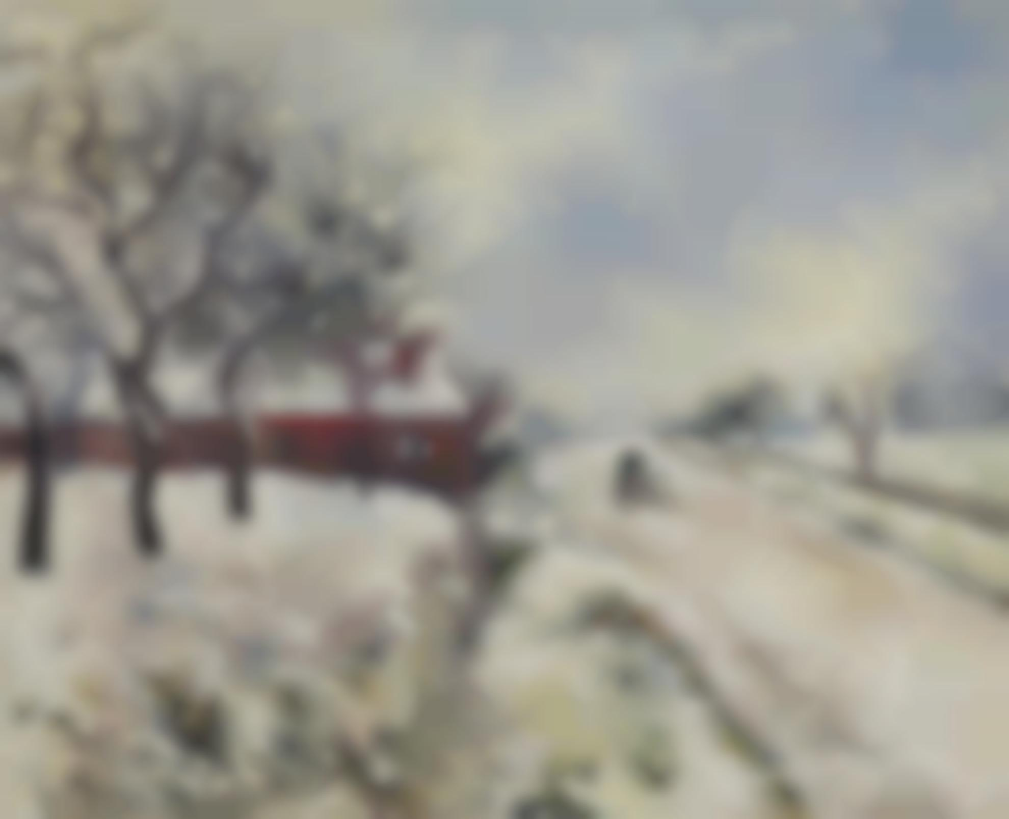 Camille Pissarro-Route Enneigee Avec Maison, Environs Deragny-1885