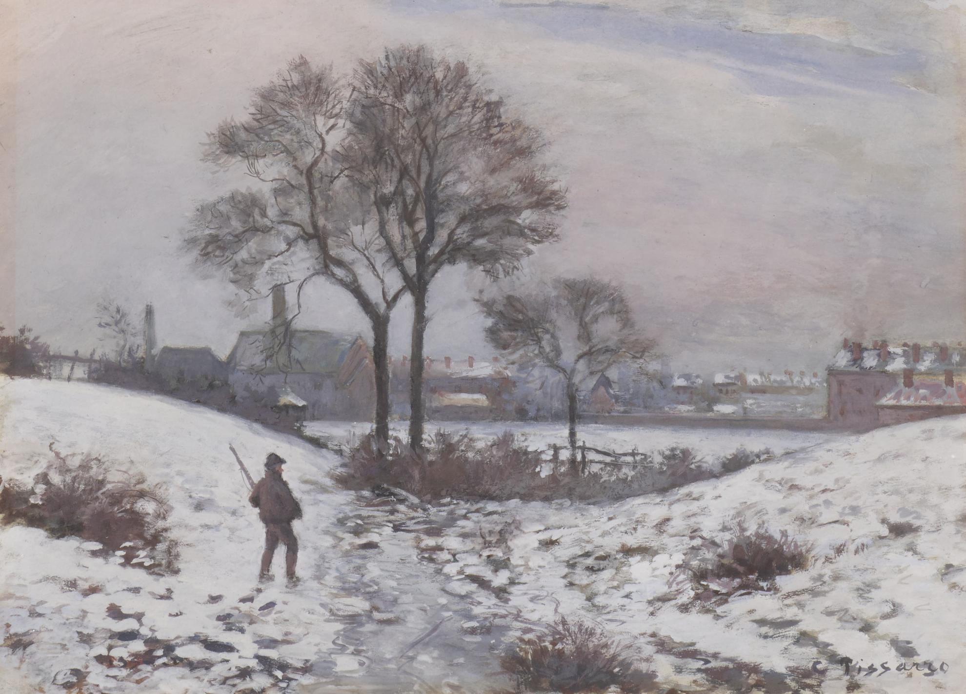 Camille Pissarro-Chasseur En Hiver, Paysage A Norwood-1870