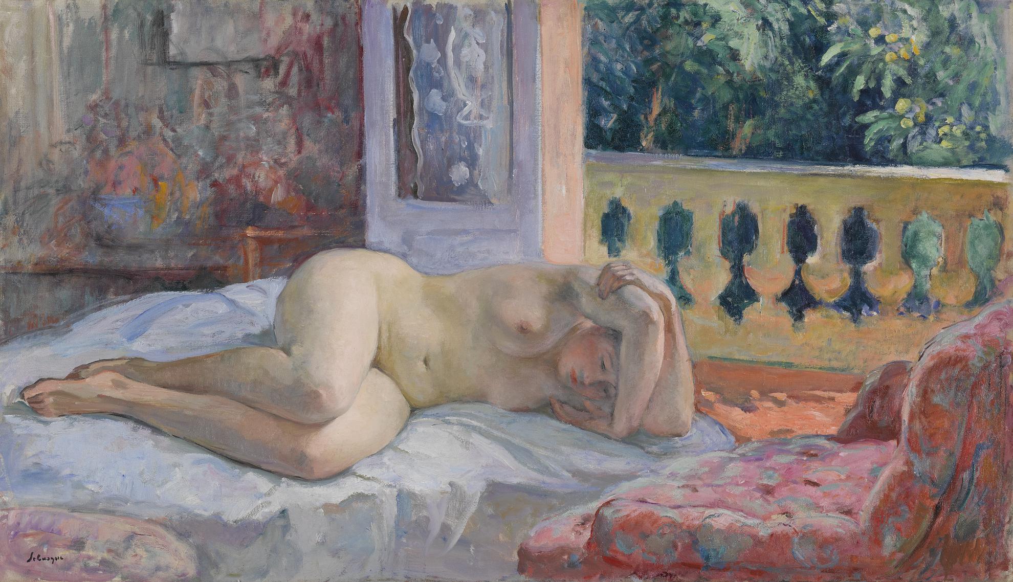 Henri Lebasque-Nu Couche Devant La Fenetre Ouverte-1926