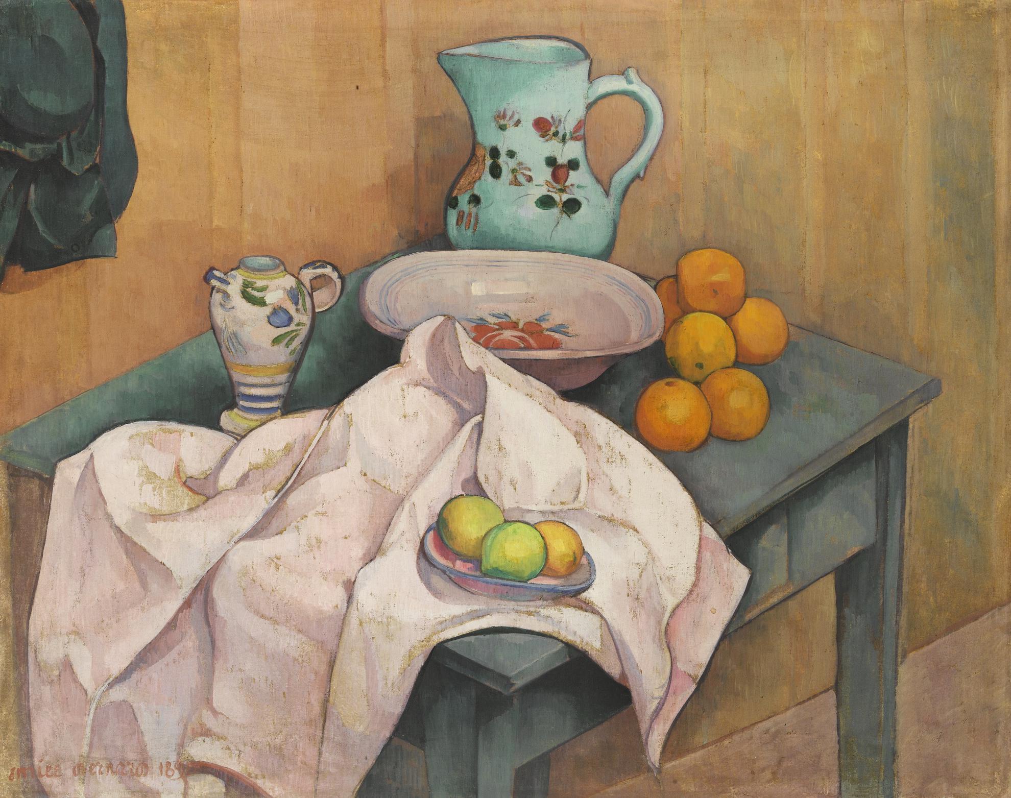 Emile Bernard-Nature Morte Au Pichet Et Aux Fruits Sur Une Serviette Deployee-1890