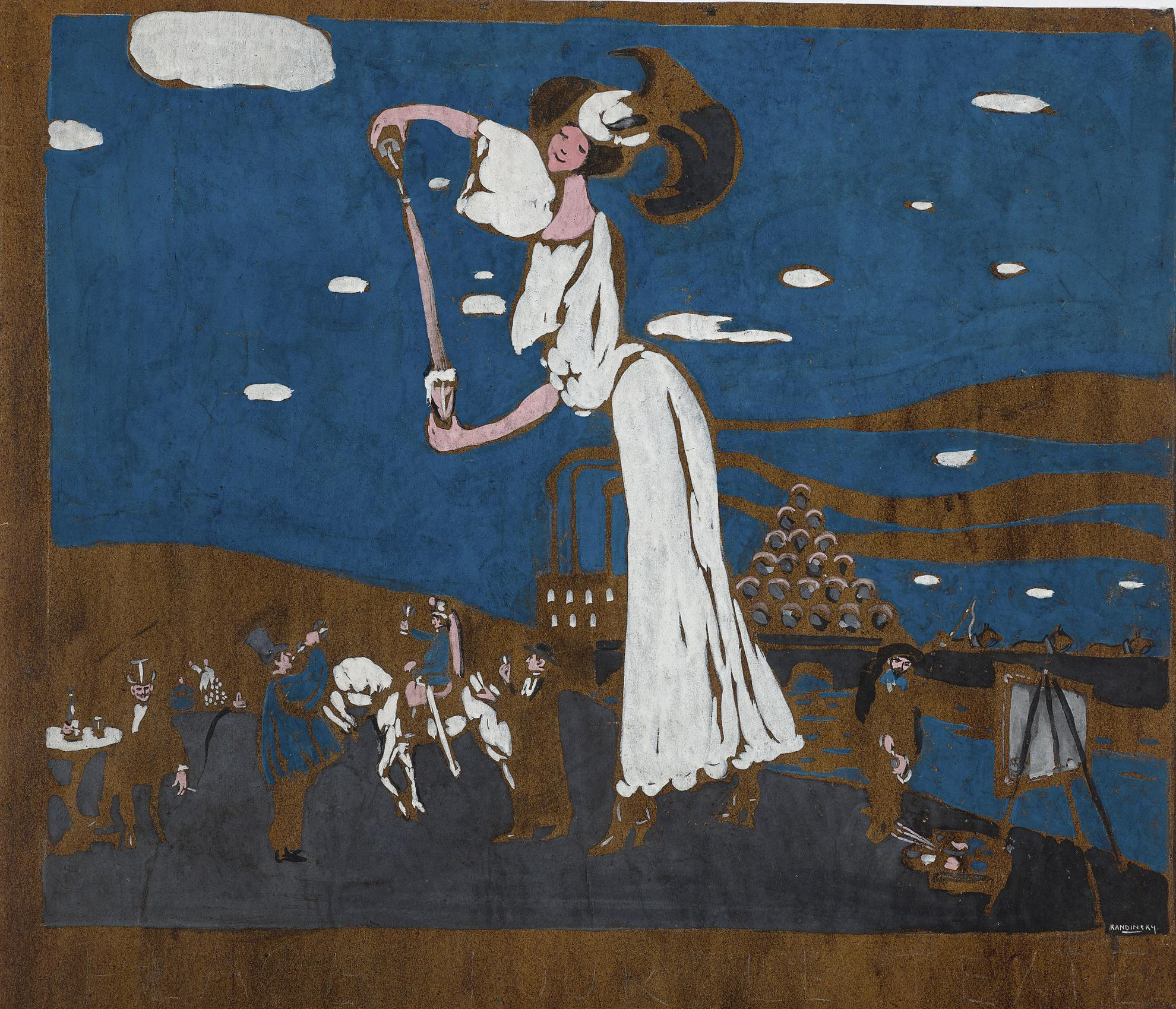 Wassily Kandinsky-Entwurf Fur Eine Affiche Einer Franzosischen Brauerei (Sketch For A Poster For A French Brewery)-1907