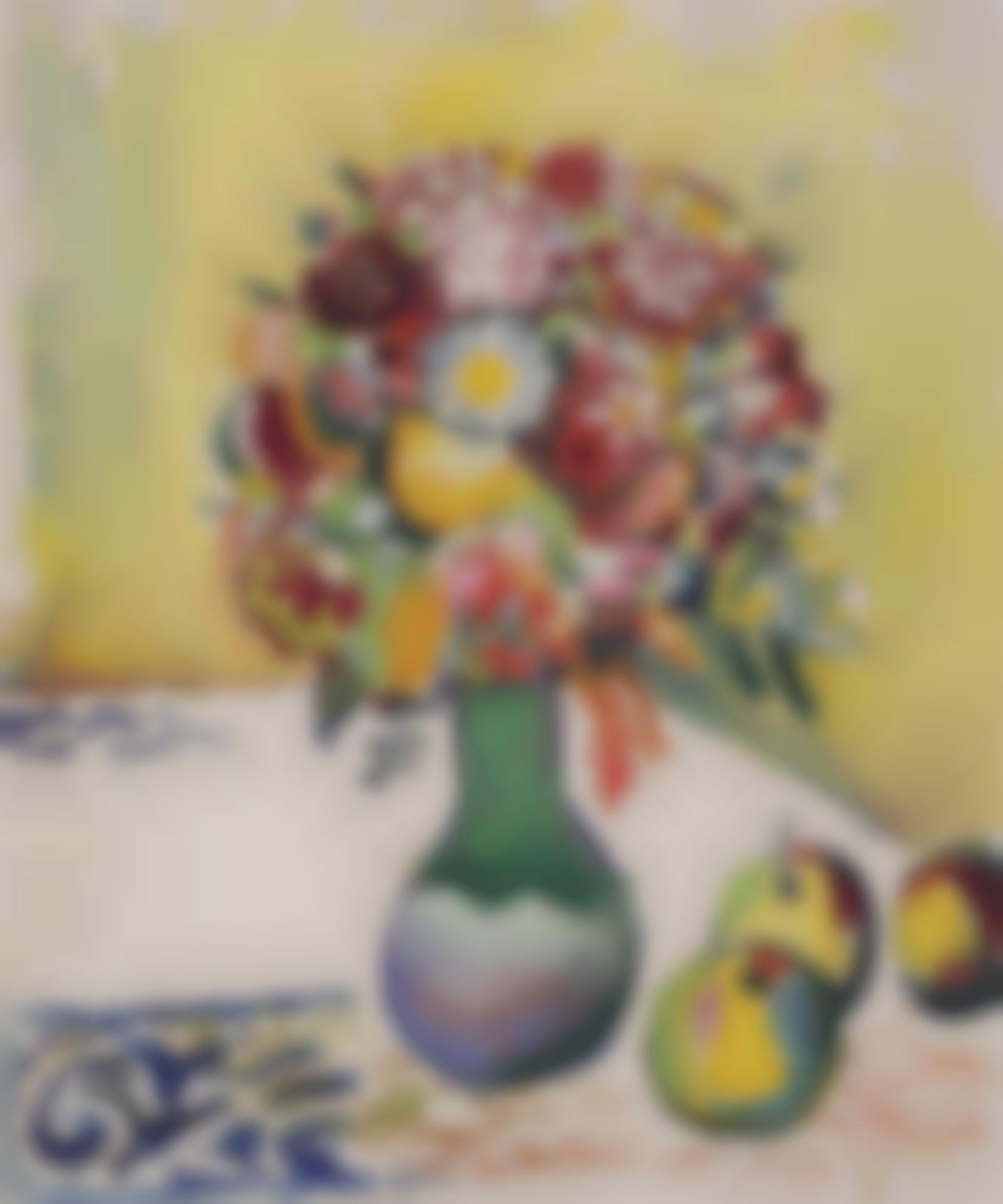 August Macke-Stilleben Mit Strauss Und Drei Apfeln (Still Life With Flowers And Three Apples)-1910