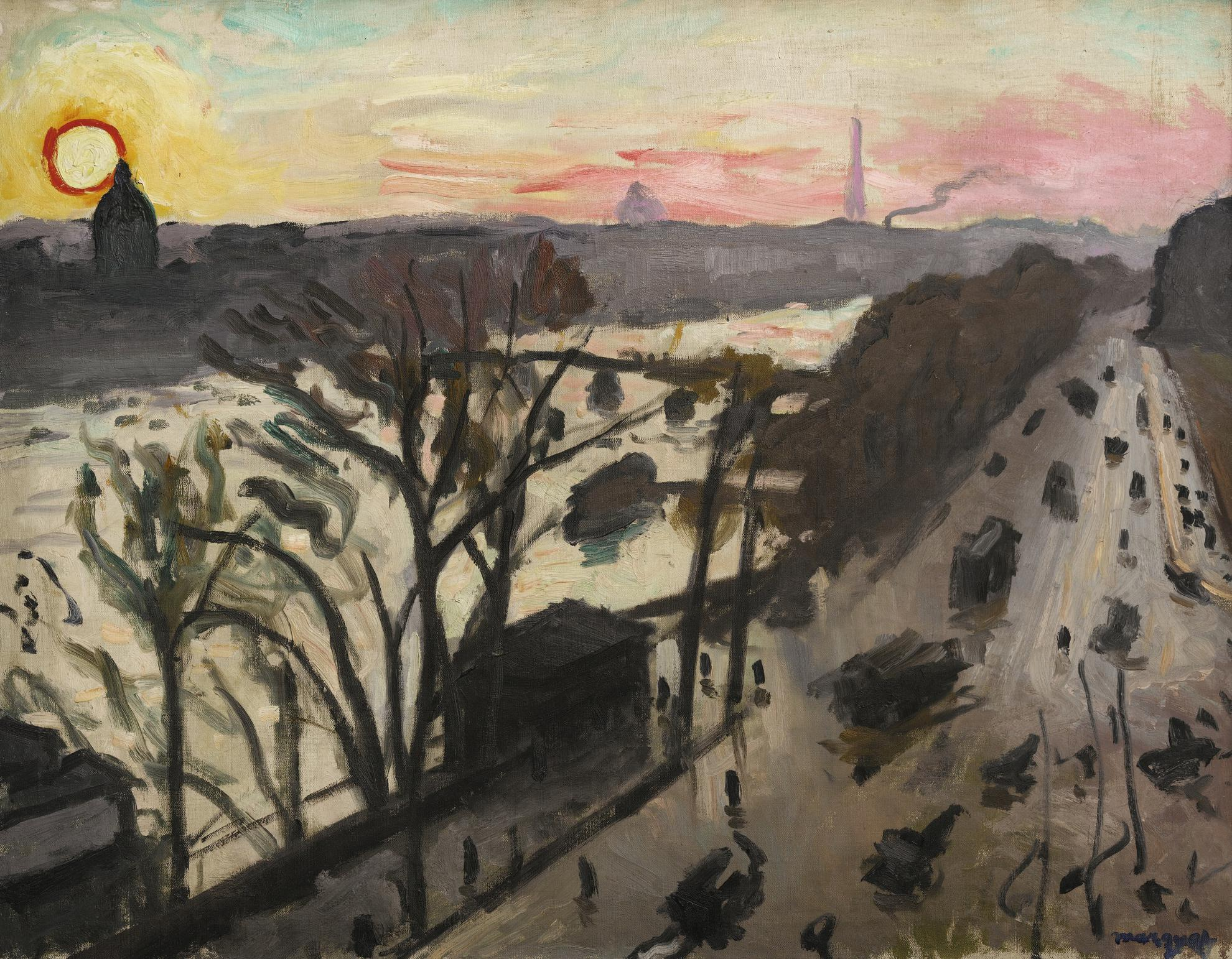 Albert Marquet-Paris, Quai Du Louvre, Soleil Dhiver-1906