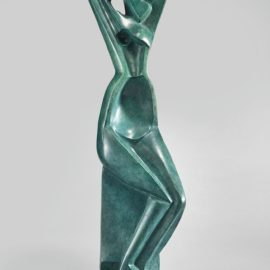 Alexander Archipenko-Seated Woman Combing Her Hair-1915