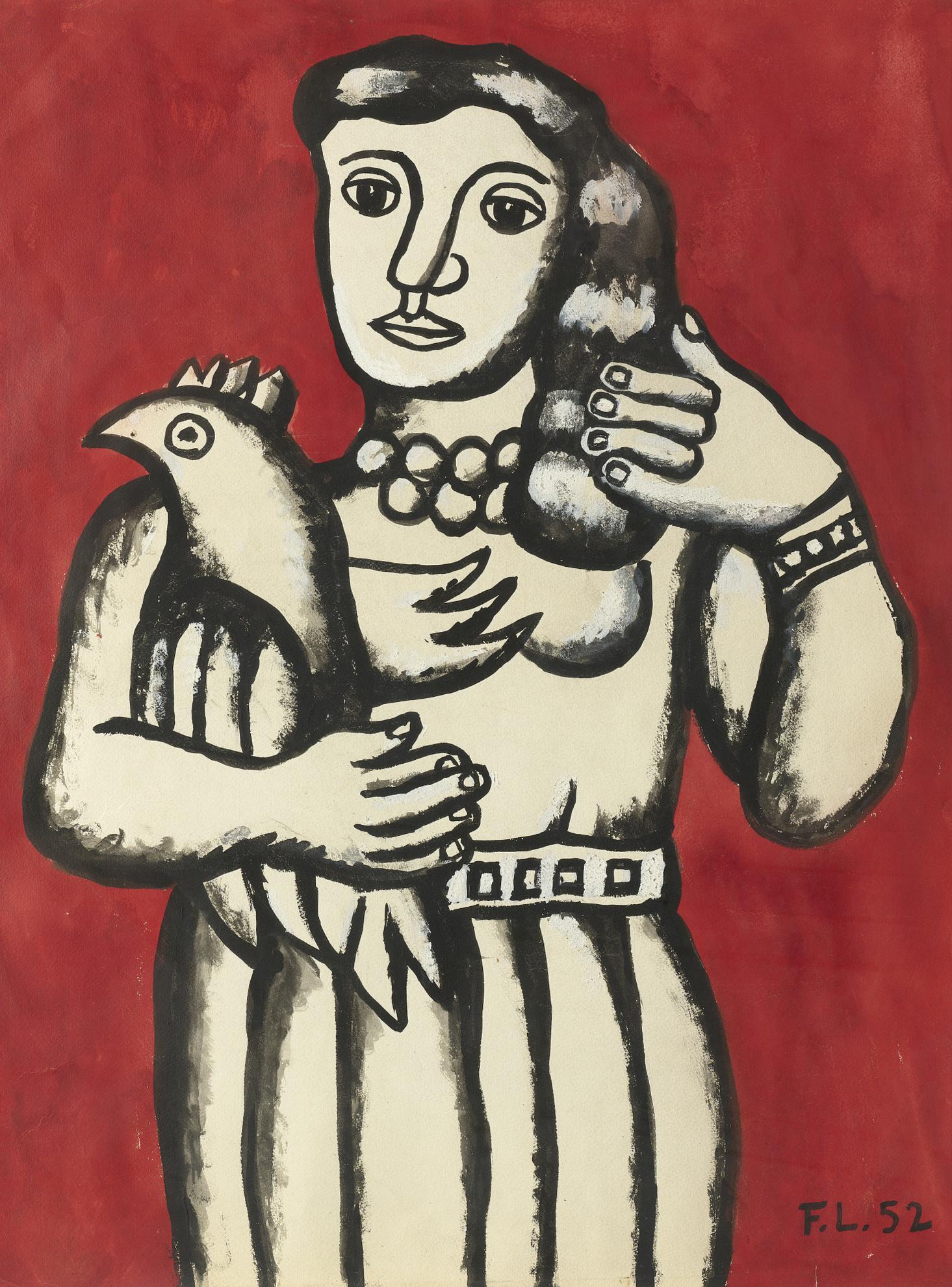 Fernand Leger-La Femme Au Perroquet-1952