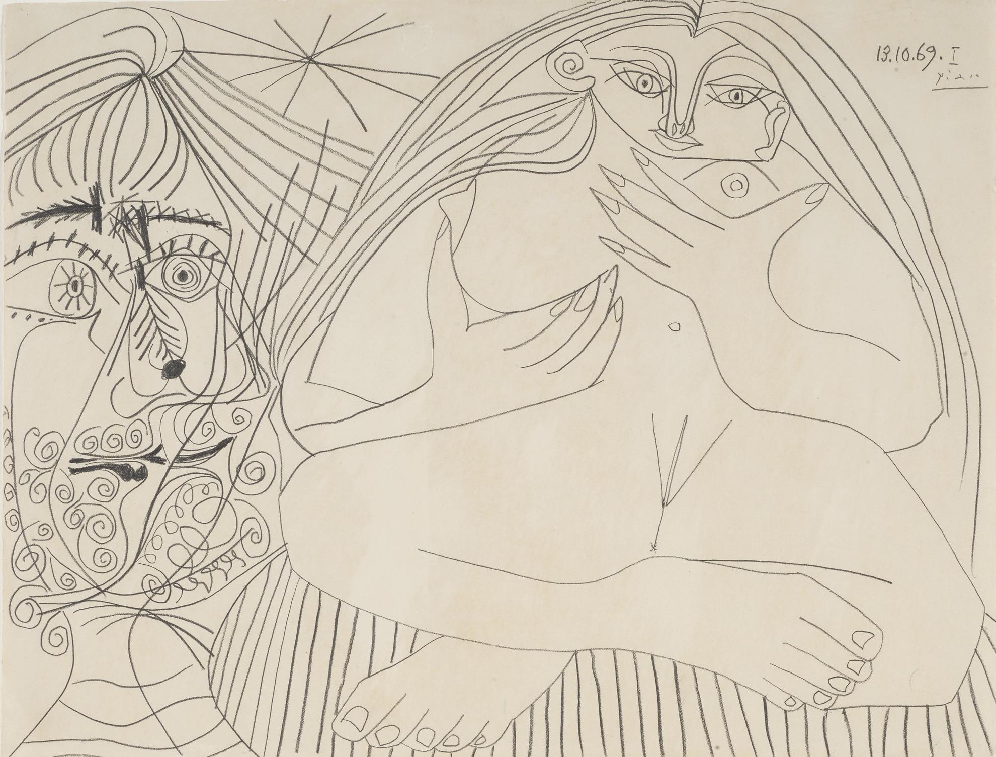 Pablo Picasso-Nu Assis Et Tete-1969
