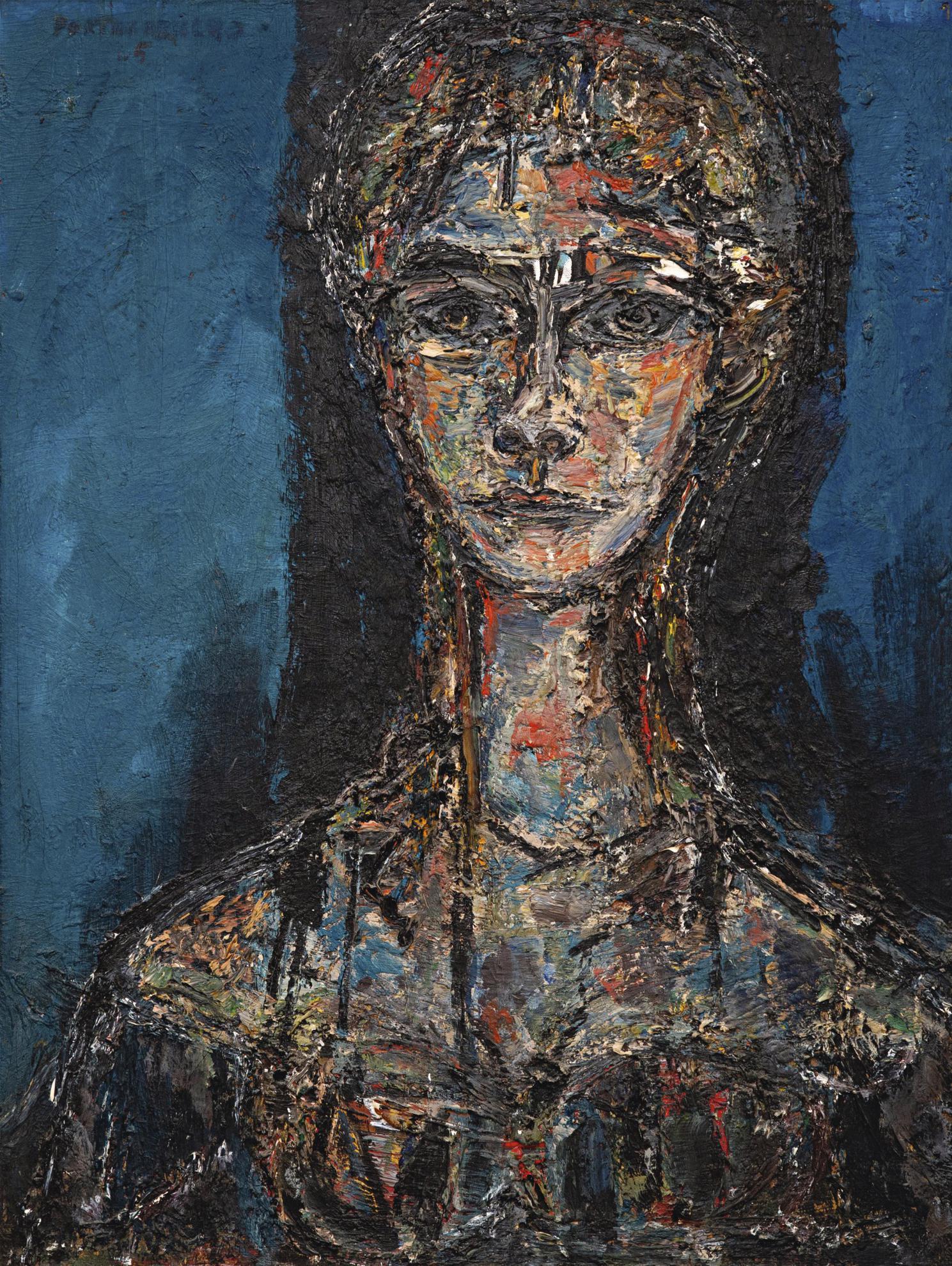 Rene Portocarrero-Mujer En Azul-1965