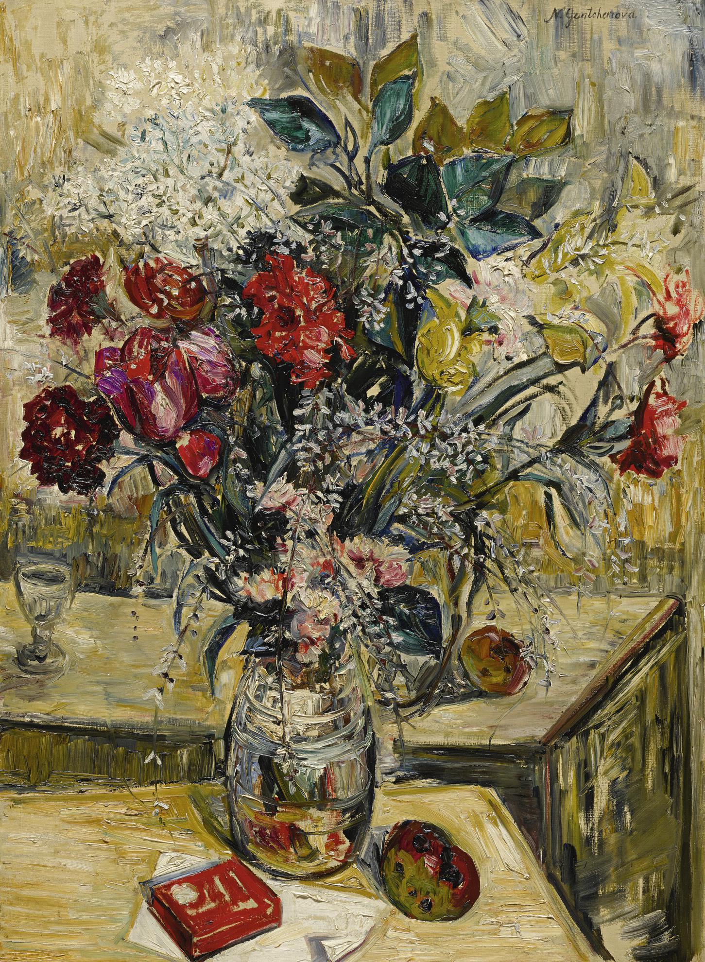 Natalia Goncharova-Vase De Fleurs Et De Pommes-