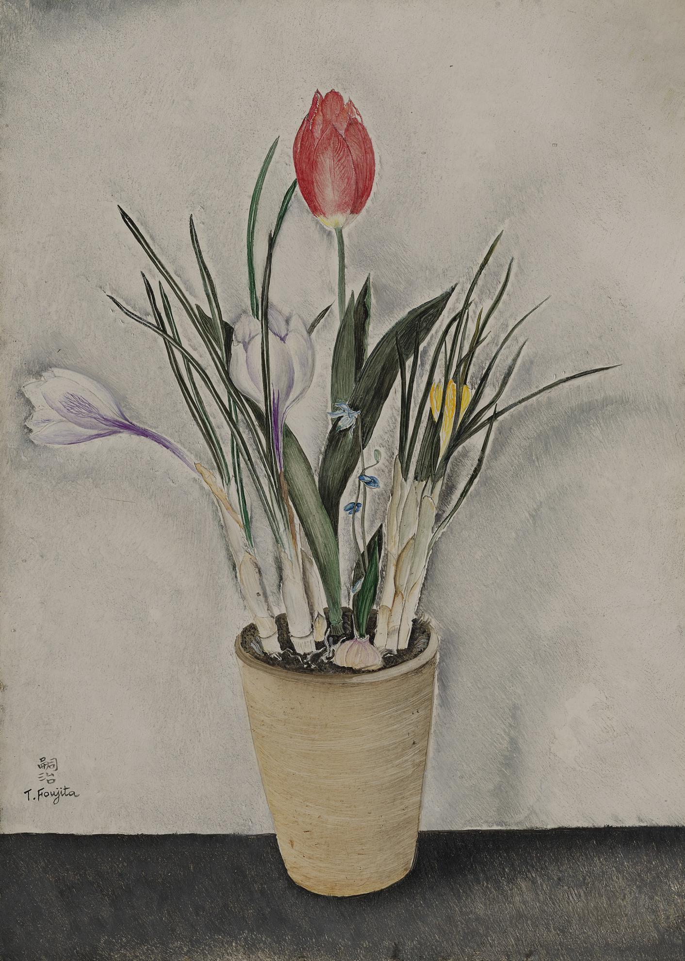 Tsuguharu Foujita-Nature Morte Aux Fleurs-1920