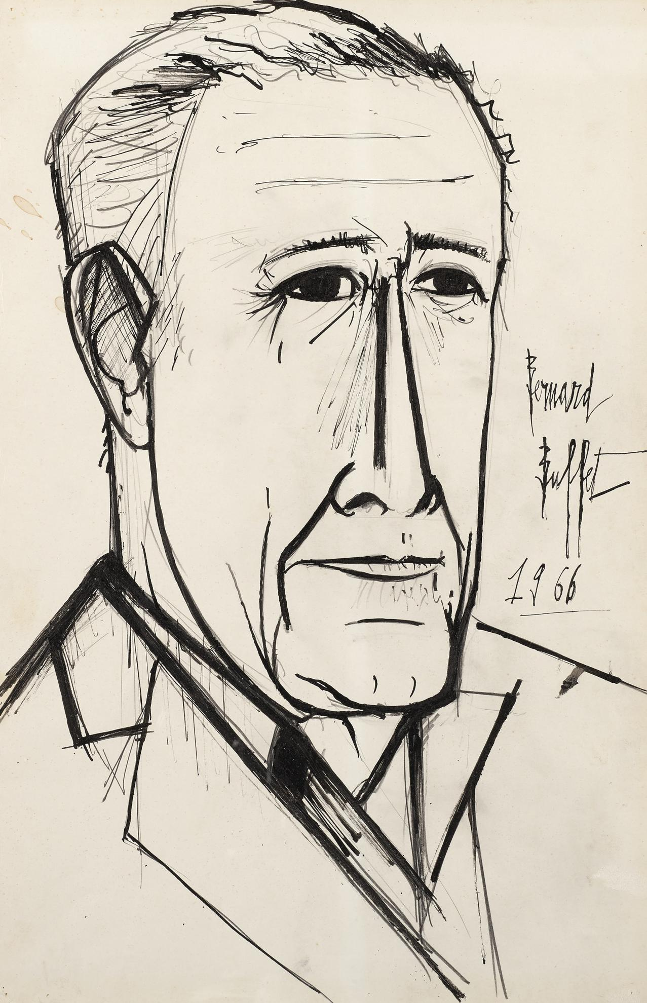Bernard Buffet-Portrait De Wally Findlay-1966