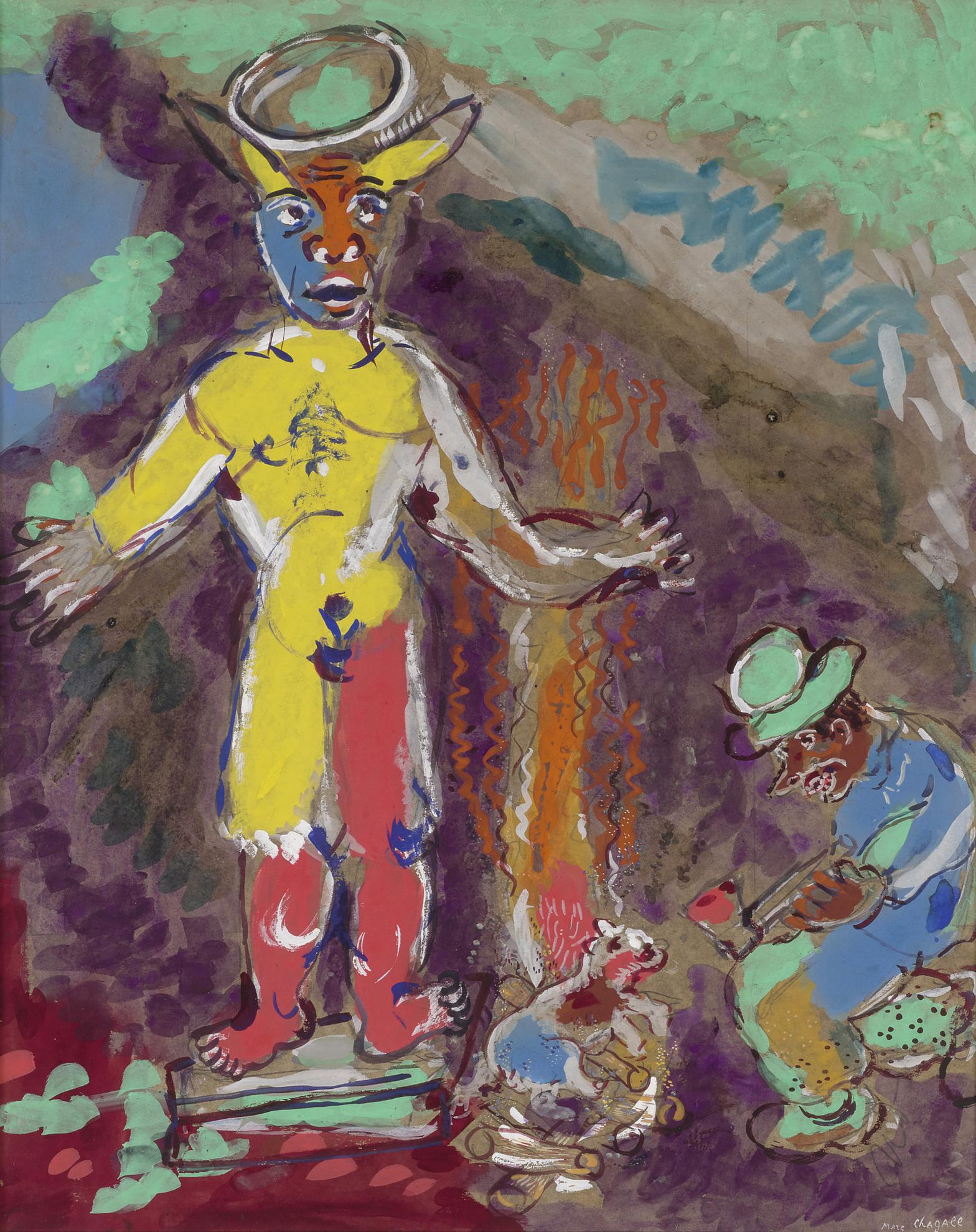 Marc Chagall-Lhomme Et Lidole De Bois (Fables De La Fontaine)-1927
