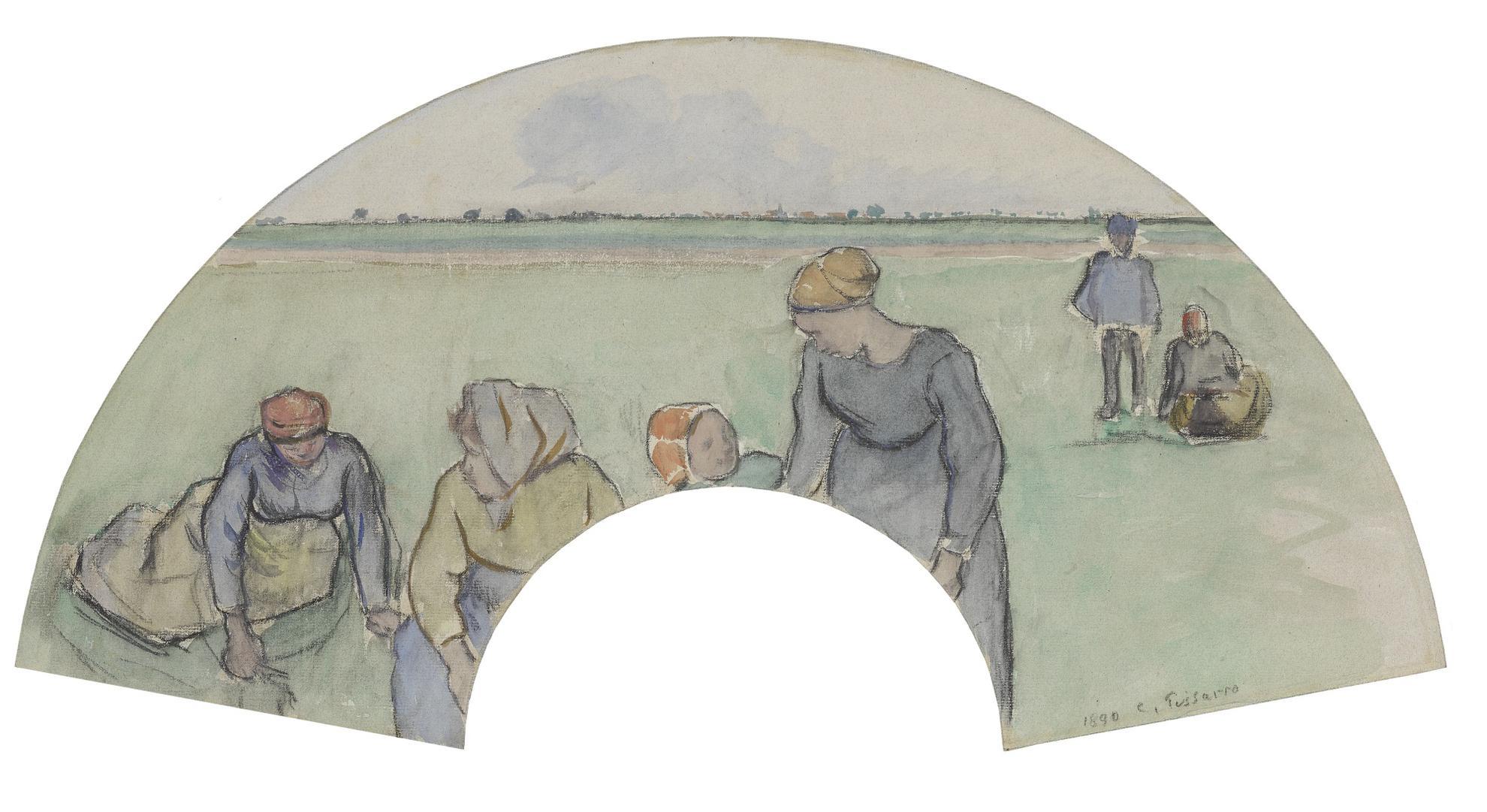 Camille Pissarro-Paysans Ramassant Des Herbes-1890