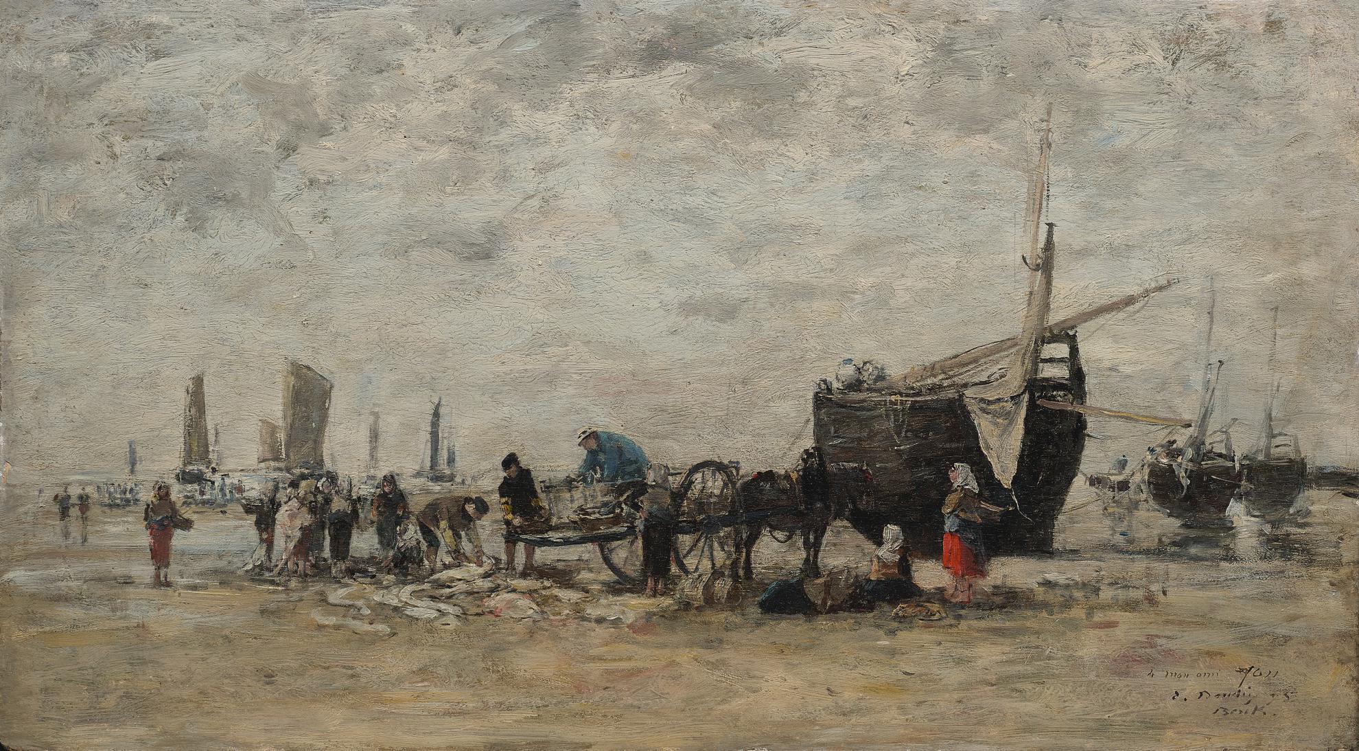 Eugene Louis Boudin-Berck, Le Marche Aux Poissons Sur La Plage-1875