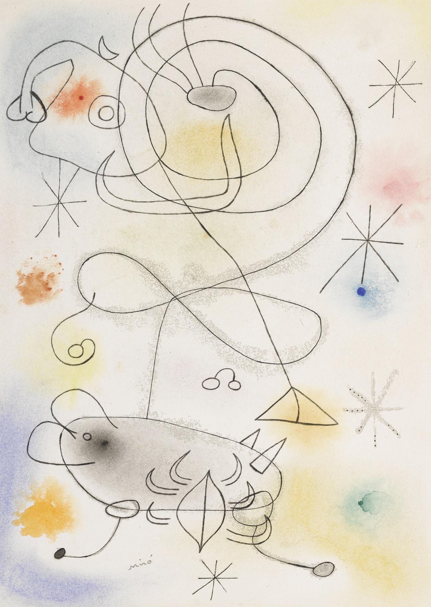 Joan Miro-Femme, Oiseau, Etoiles-1942